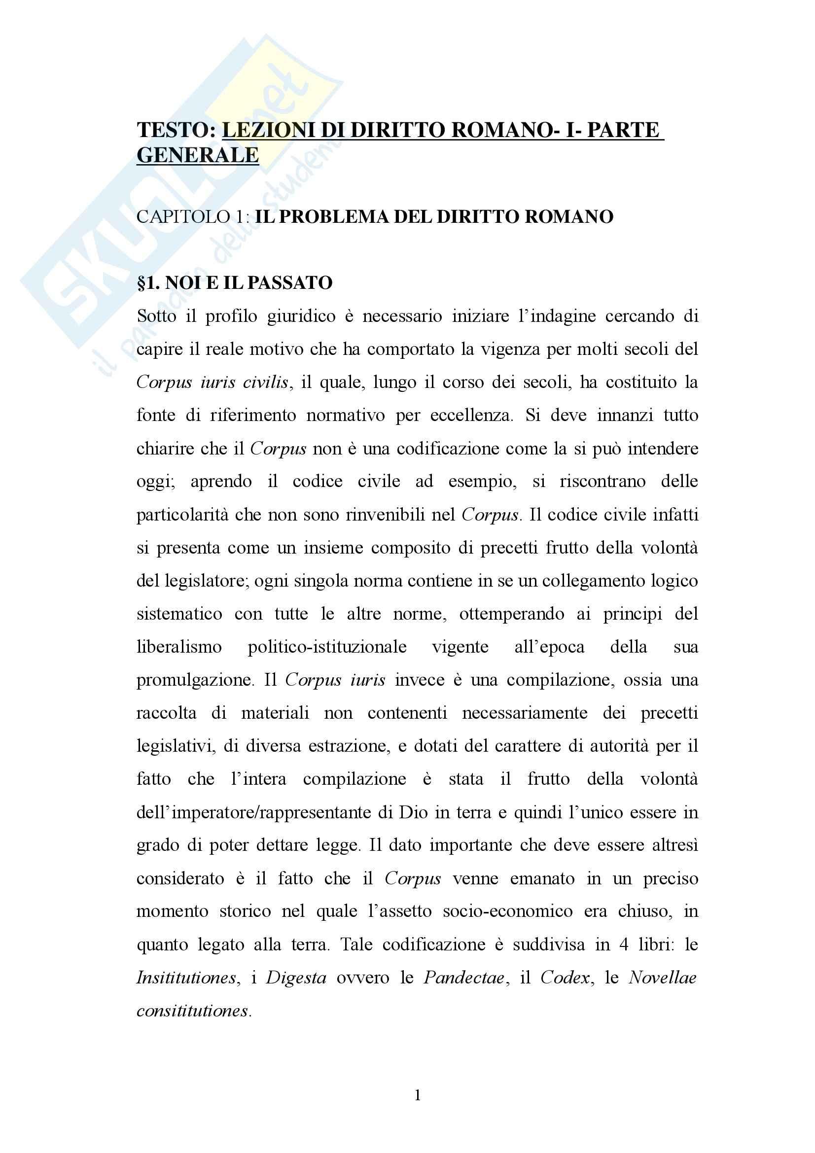 Diritto Romano - Riassunto esame lezioni, prof. Mantello