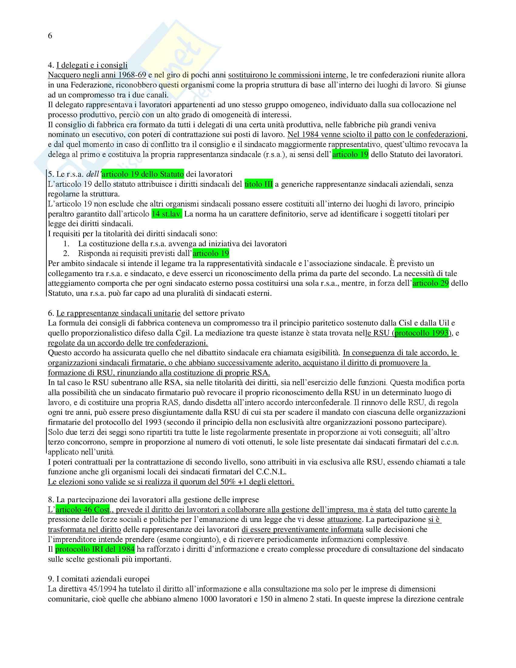 Riassunto esame Diritto del Lavoro, prof. De Simone, libro consigliato Diritto Sindacale, Giugni Pag. 6