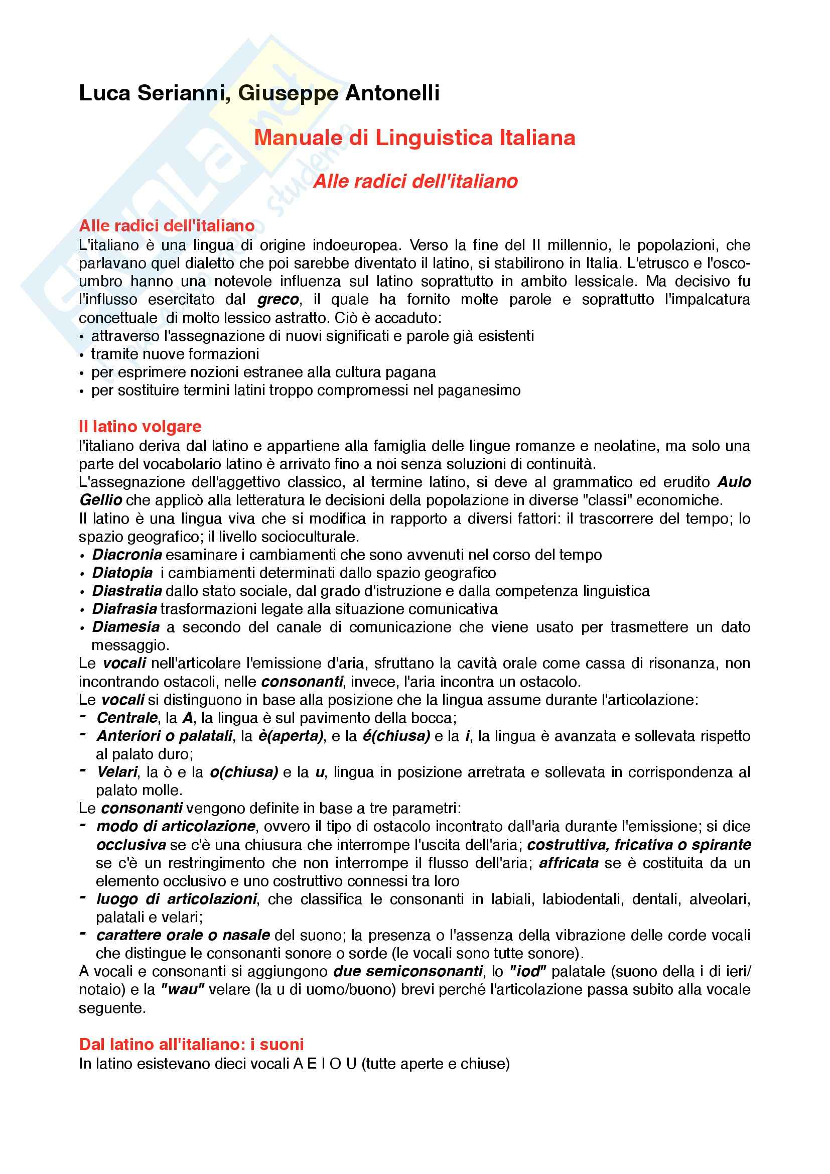 Riassunto esame Linguistica Italiana, Prof. Papa, libro consigliato Manuale di linguistica italiana, Serianni, Antonelli