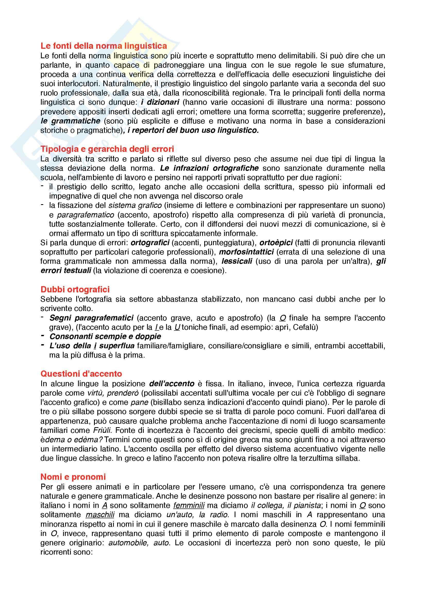 Riassunto esame Linguistica Italiana, Prof. Papa, libro consigliato Manuale di linguistica italiana, Serianni, Antonelli Pag. 21