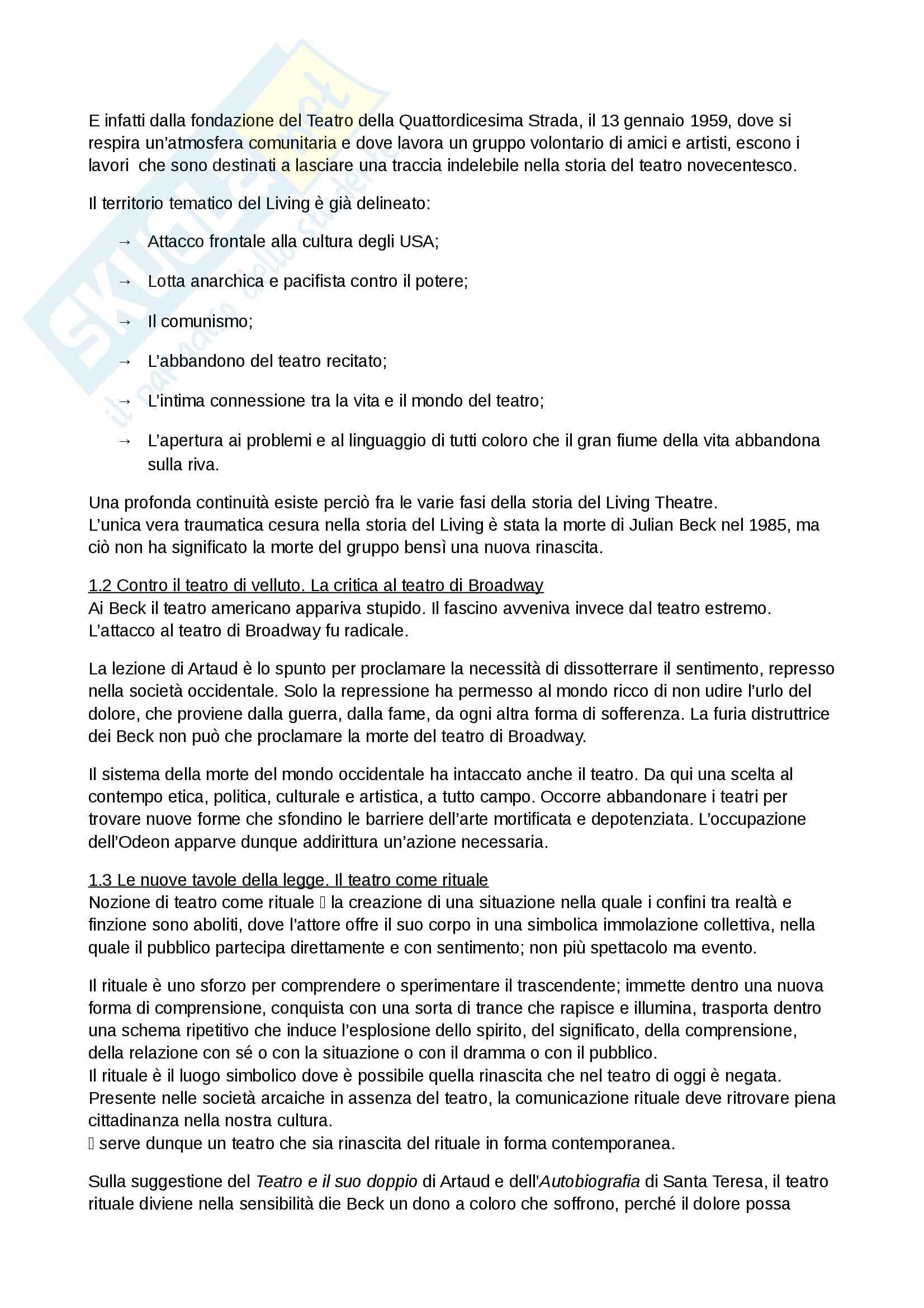 Riassunto esame Spettacolo, prof. Garavaglia, libro consigliato La regia teatrale del secondo Novecento, Zanlonghi Pag. 2