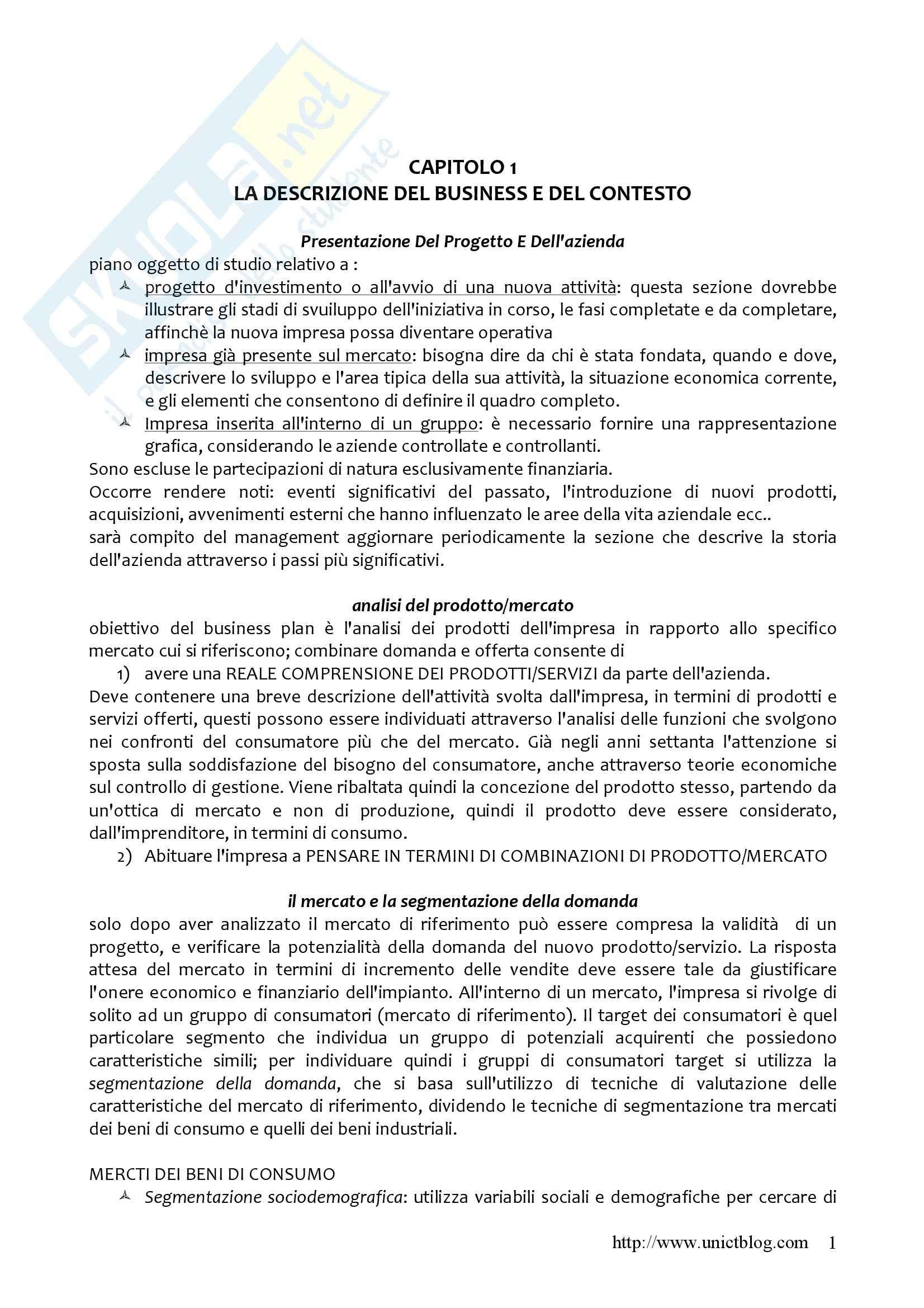 Riassunto esame Imprenditorialità, prof. Schillaci, libro consigliato Il business plan, Borello
