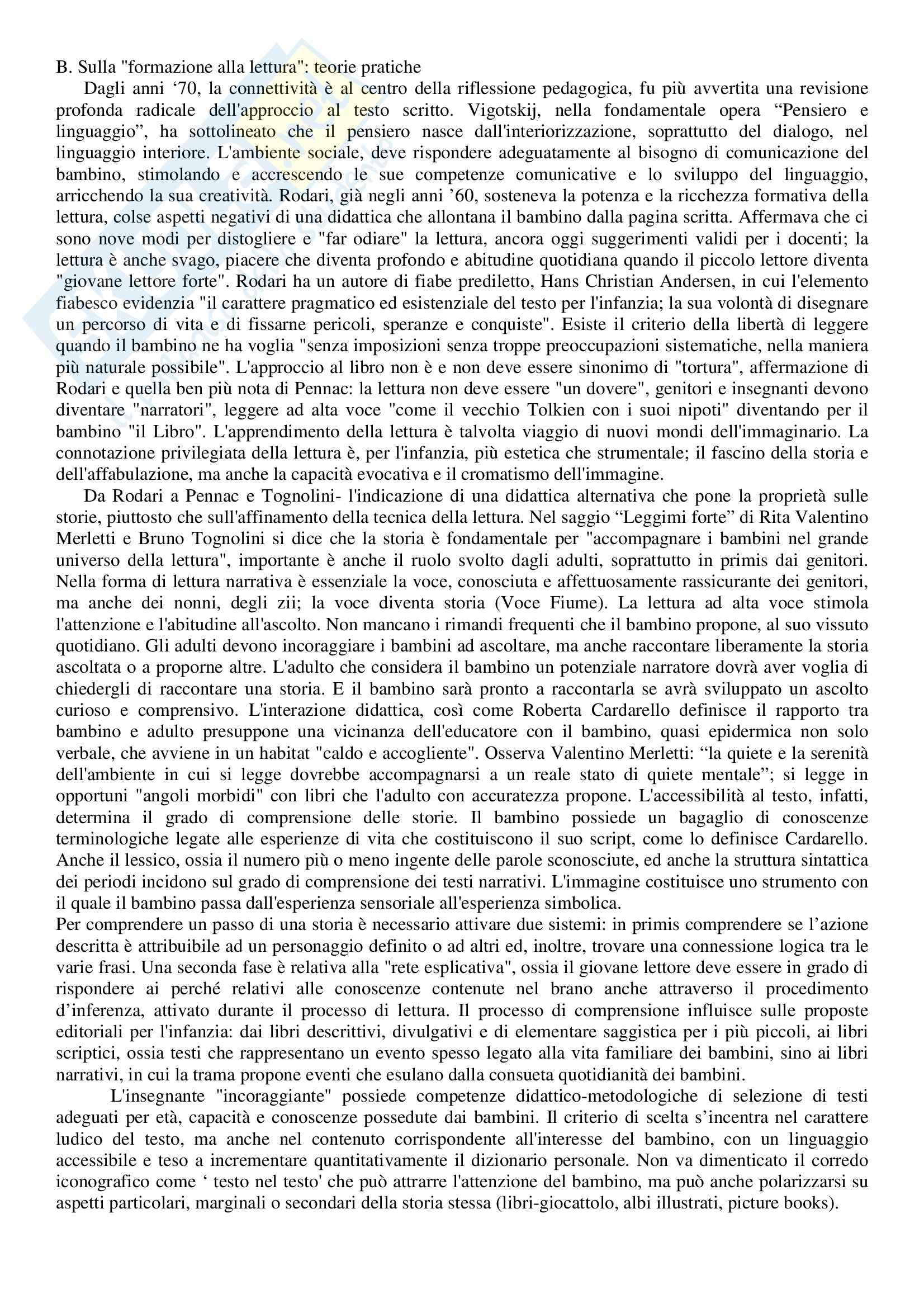 Riassunto esame Letteratura per l'Infanzia, prof. Bacchetti, libro consigliato La Letteratura per l'Infanzia Oggi Pag. 6