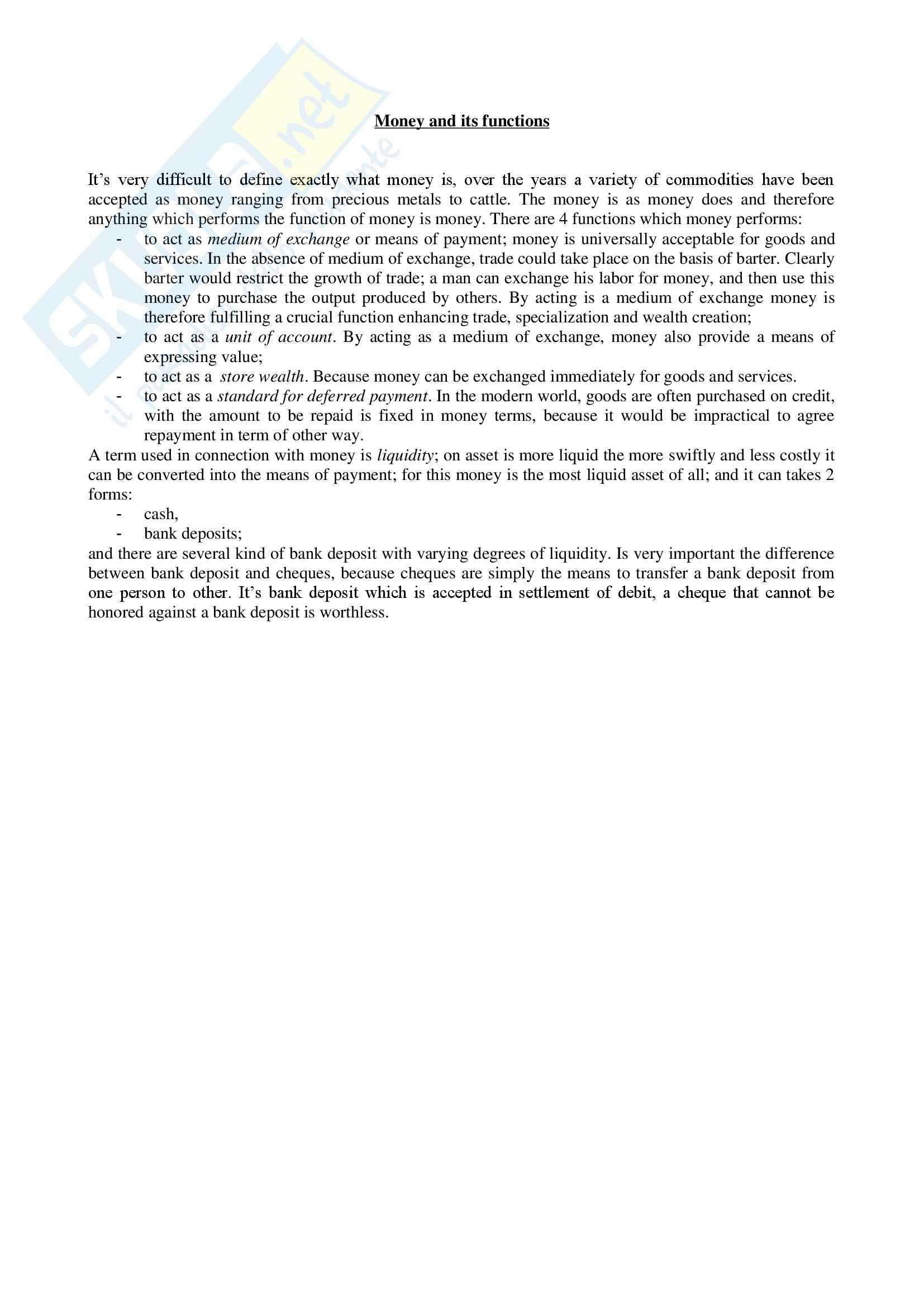 Inglese - lettura economica inglese - Riassunto esame, prof. La Ragione