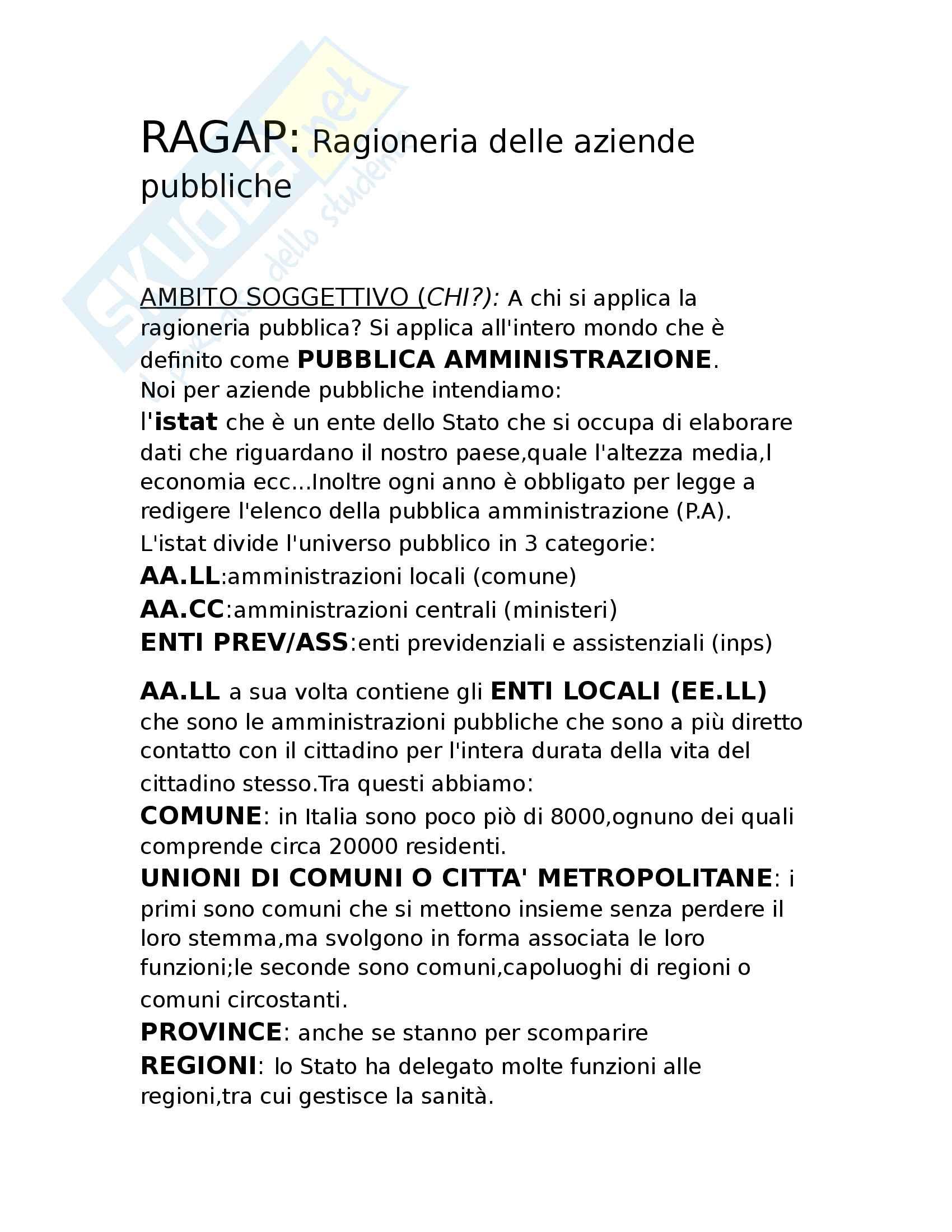 RAGAP (ragioneria delle aziende pubbliche)