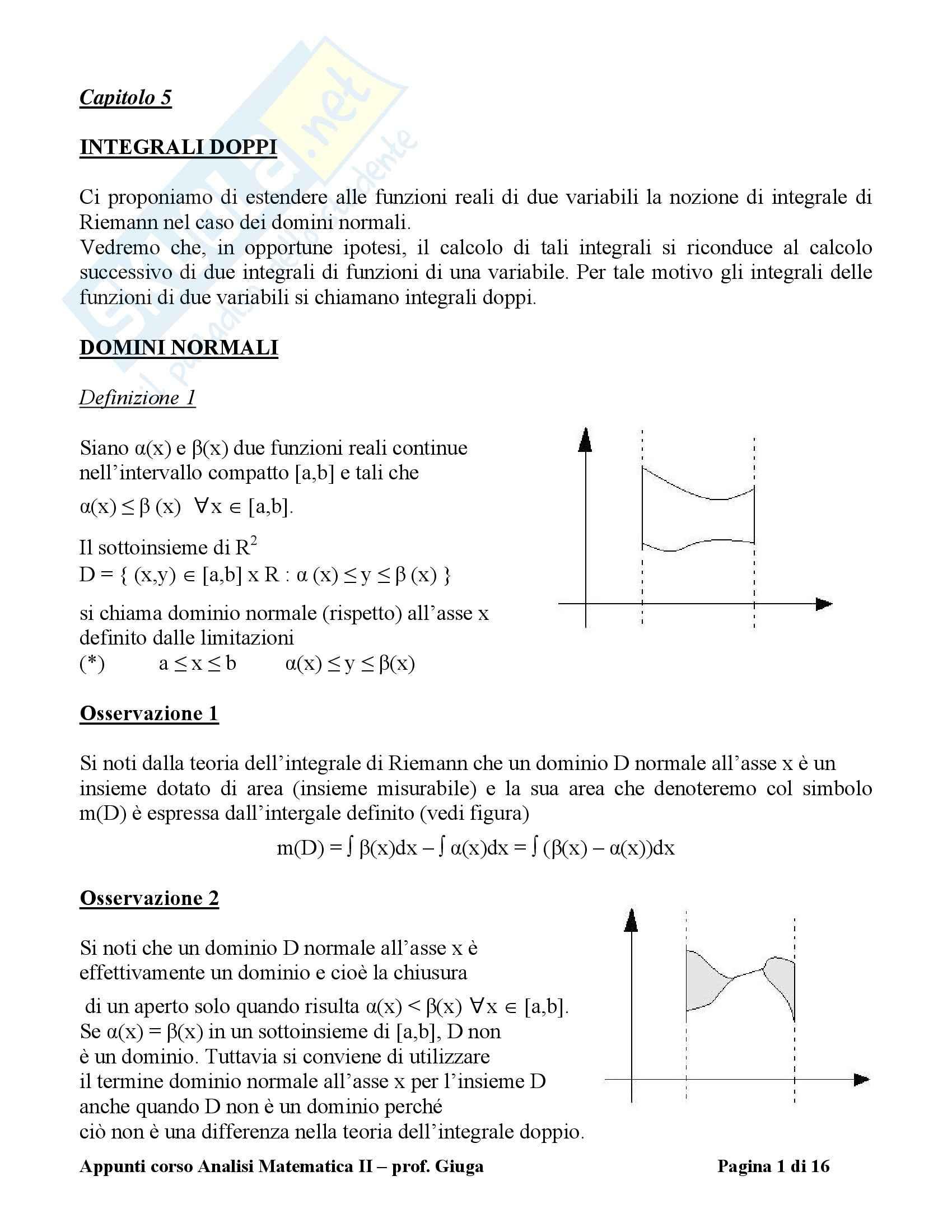 Analisi matematica II - i domini normali