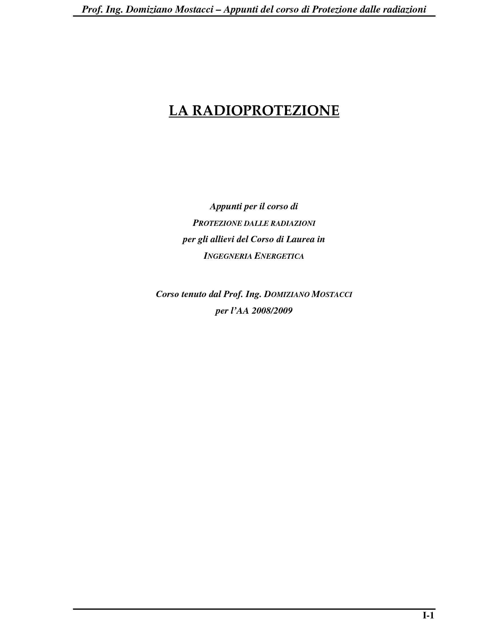 Radioprotezione - Elementi