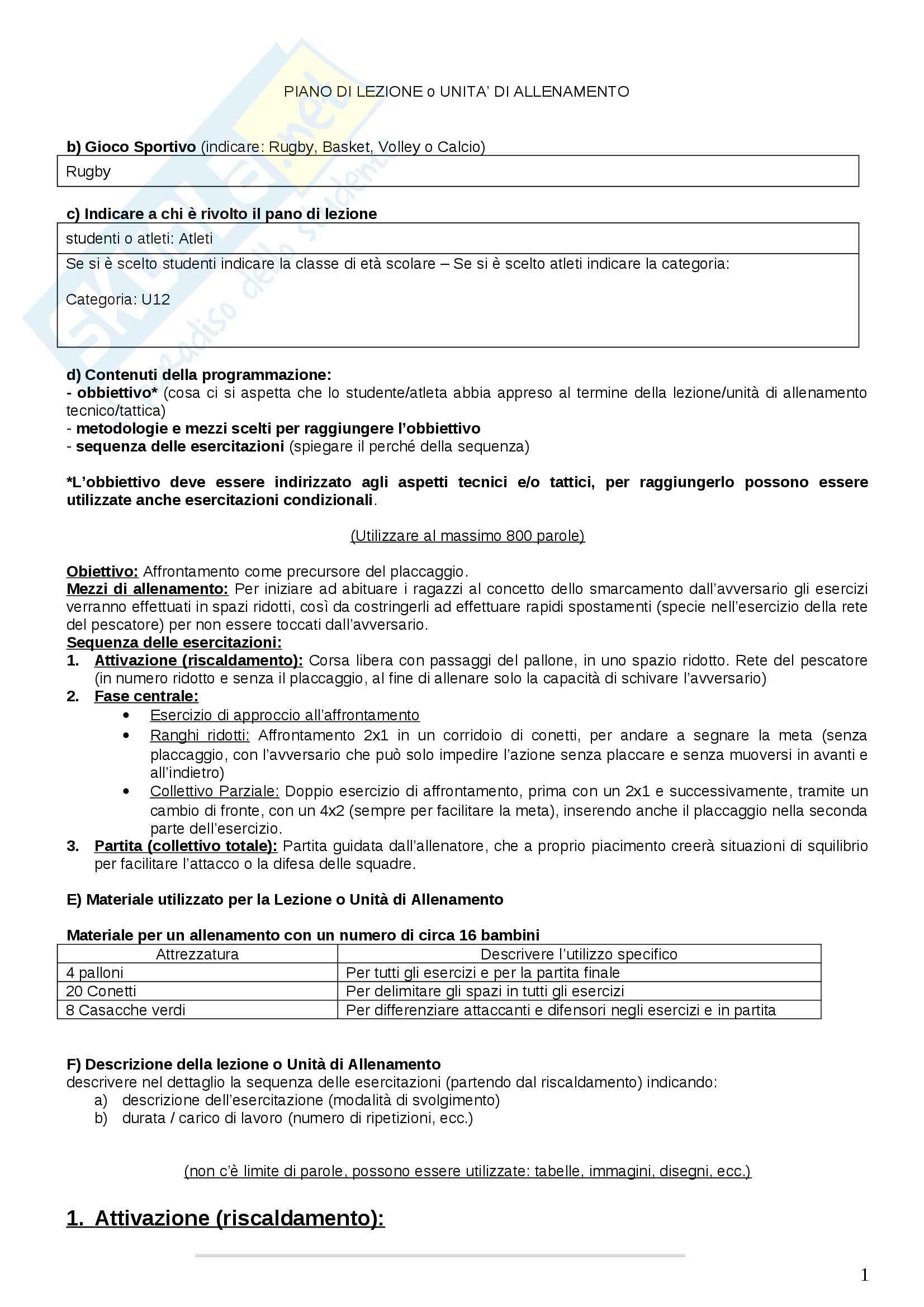 Piano di lezione Rugby U12. Esercizi di Giochi sportivi