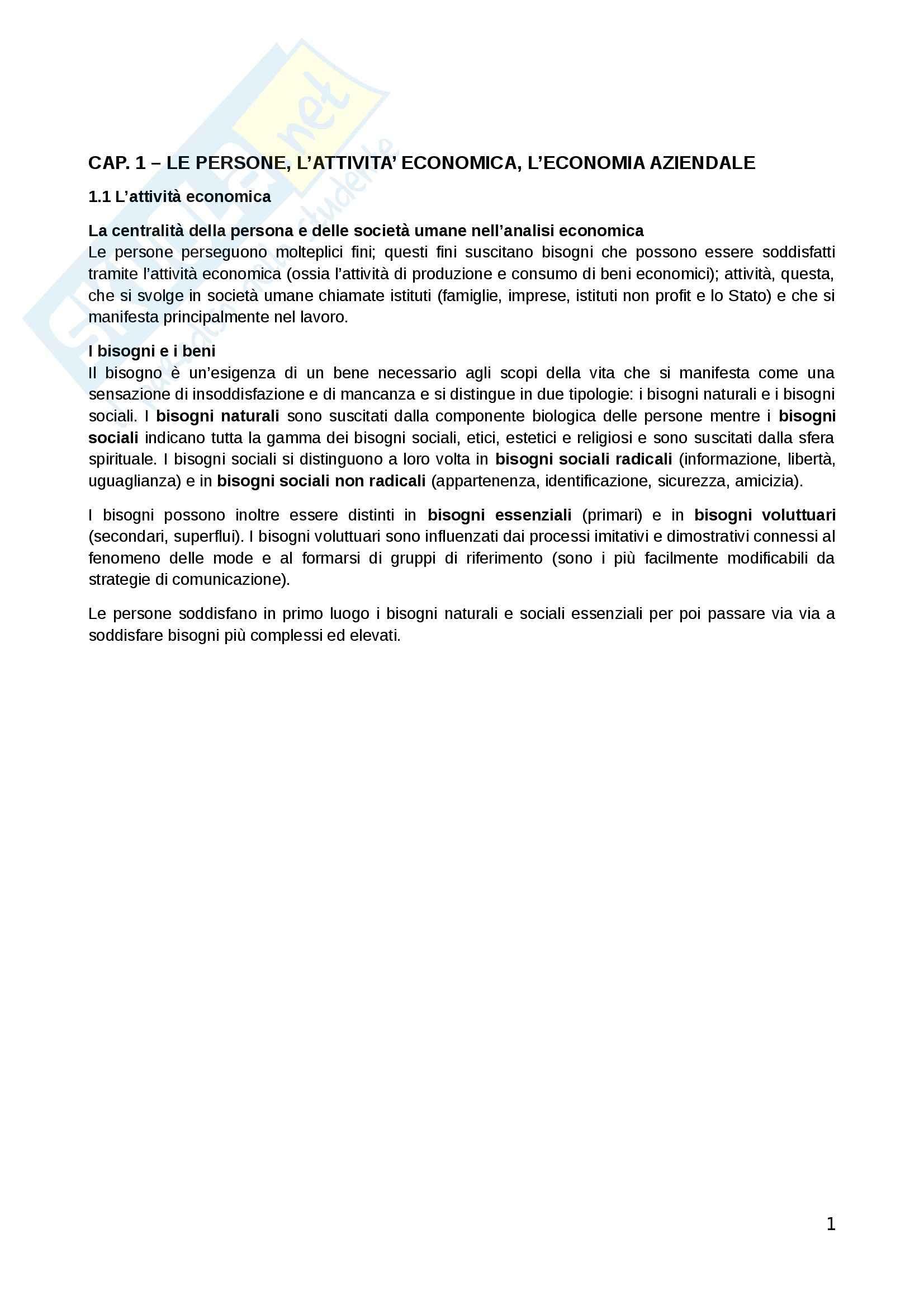 Riassunto esame Economia Aziendale, prof. Baldassarre, libro consigliato Corso di economia aziendale, Airoldi, Brunetti, Coda