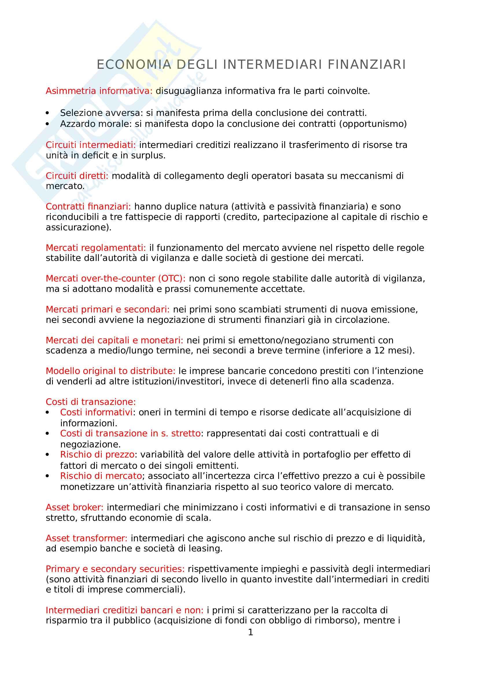 Riassunti/Appunti di Economia degli intermediari finanziari