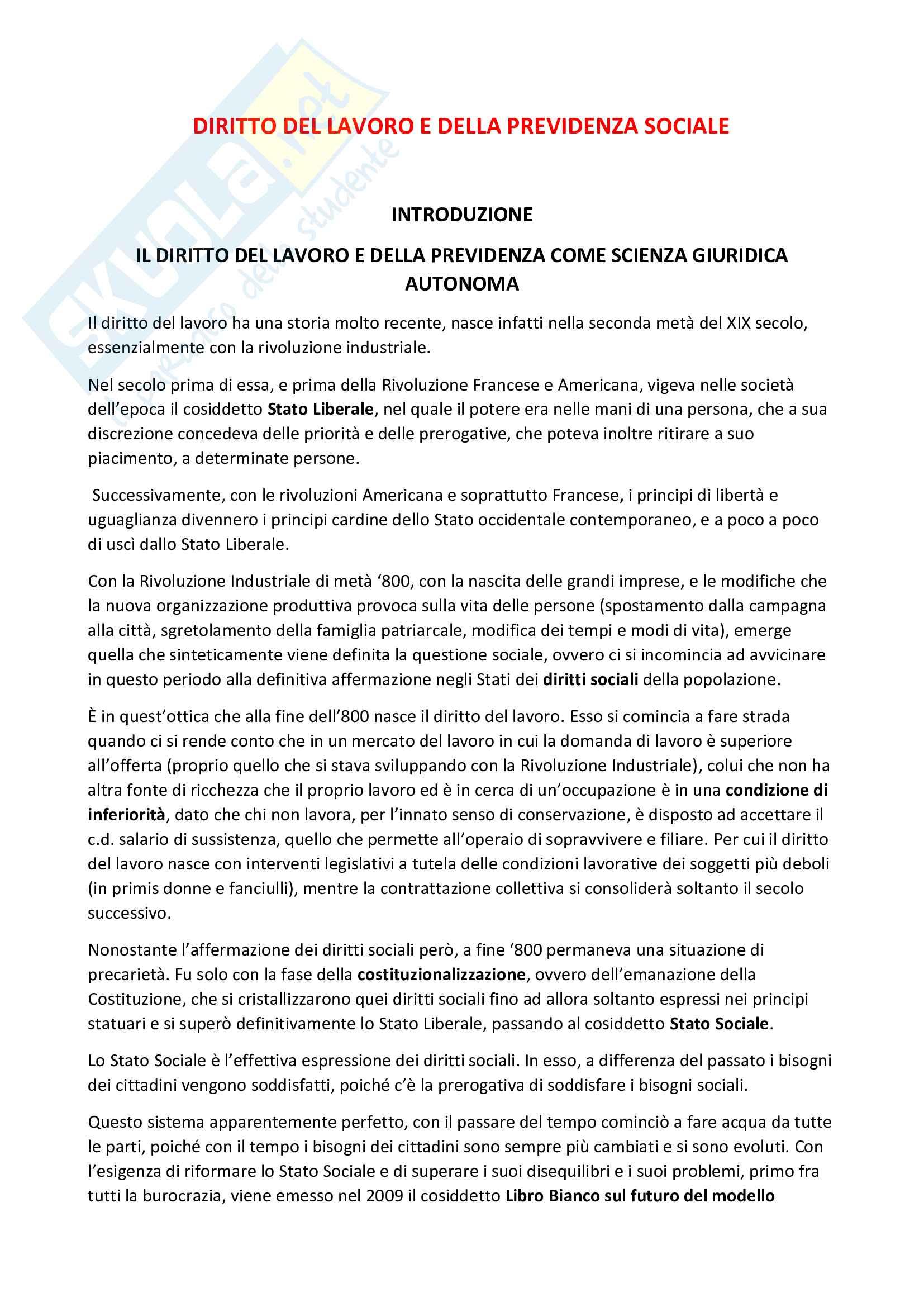 Riassunto esame Introduzione al diritto del lavoro, prof. Catalini, libro consigliato Diritto del lavoro e della previdenza sociale, Di Stasi