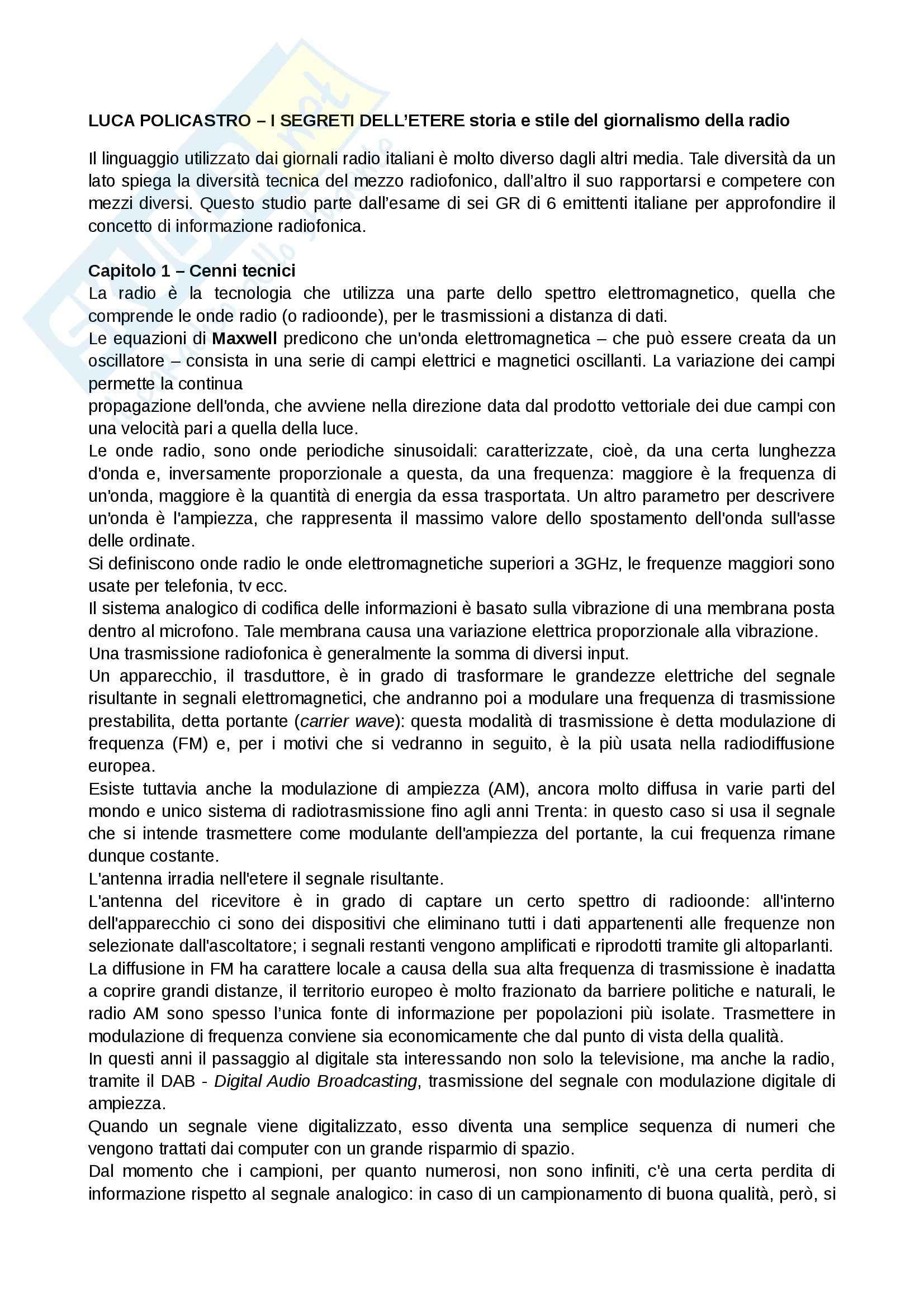 Riassunto esame Giornalismo radiotelevisivo, prof. Morcellini, libro consigliato I Segreti dell'etere, Policastro