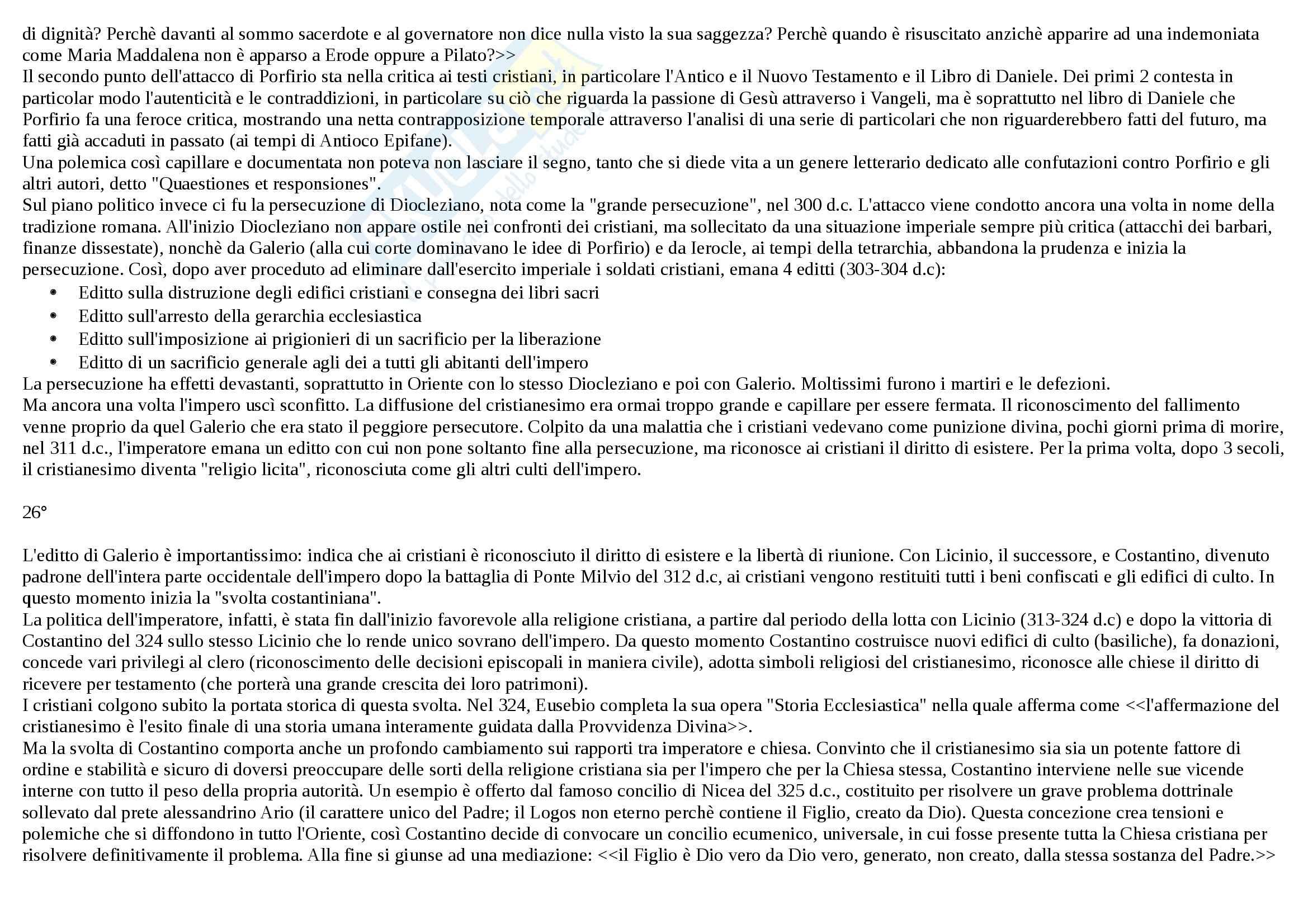 Riassunto esame Storia, prof. Sardella, libro consigliato Il cristianesimo antico, Jossa Pag. 16