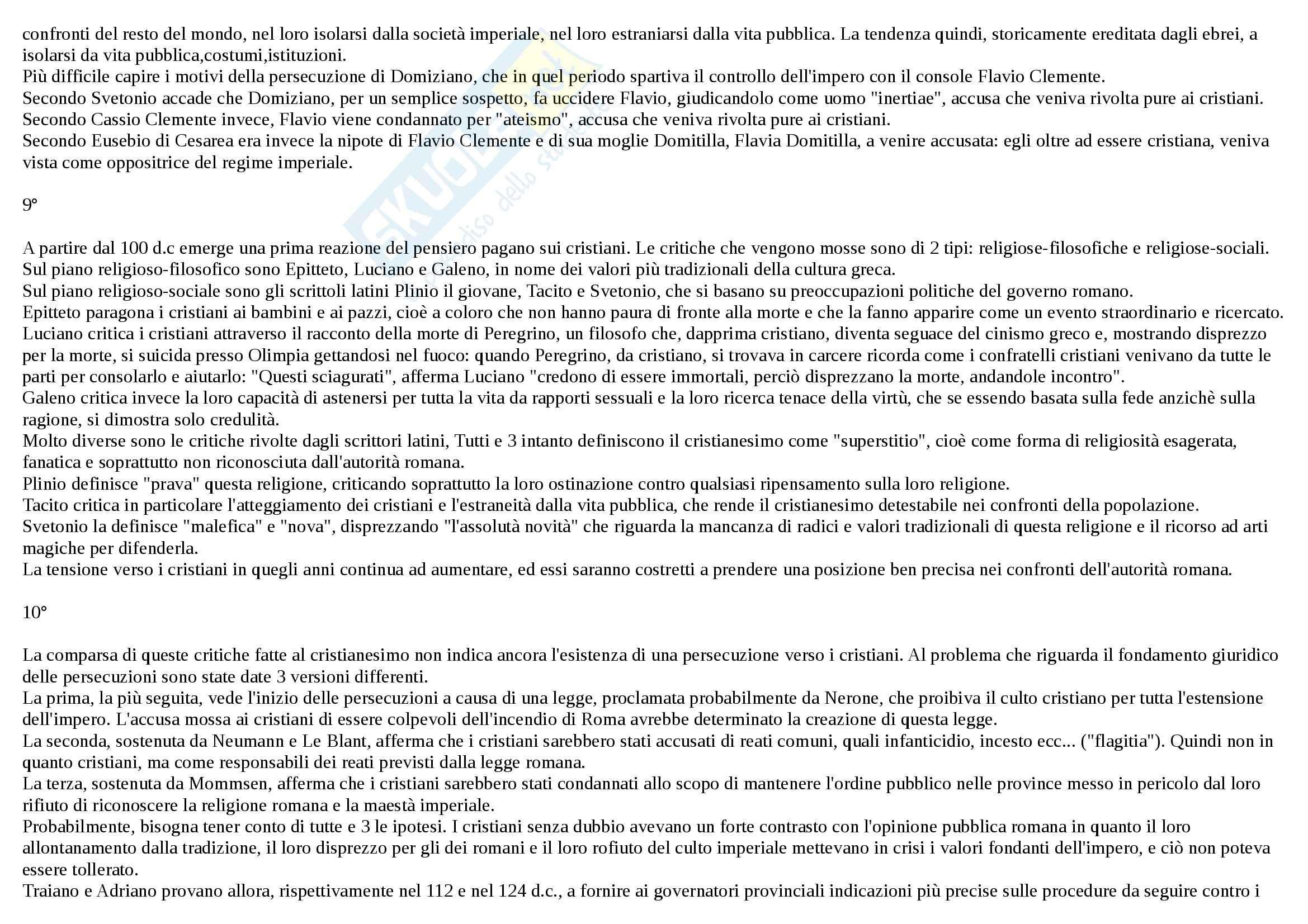 Riassunto esame Storia, prof. Sardella, libro consigliato Il cristianesimo antico, Jossa Pag. 6