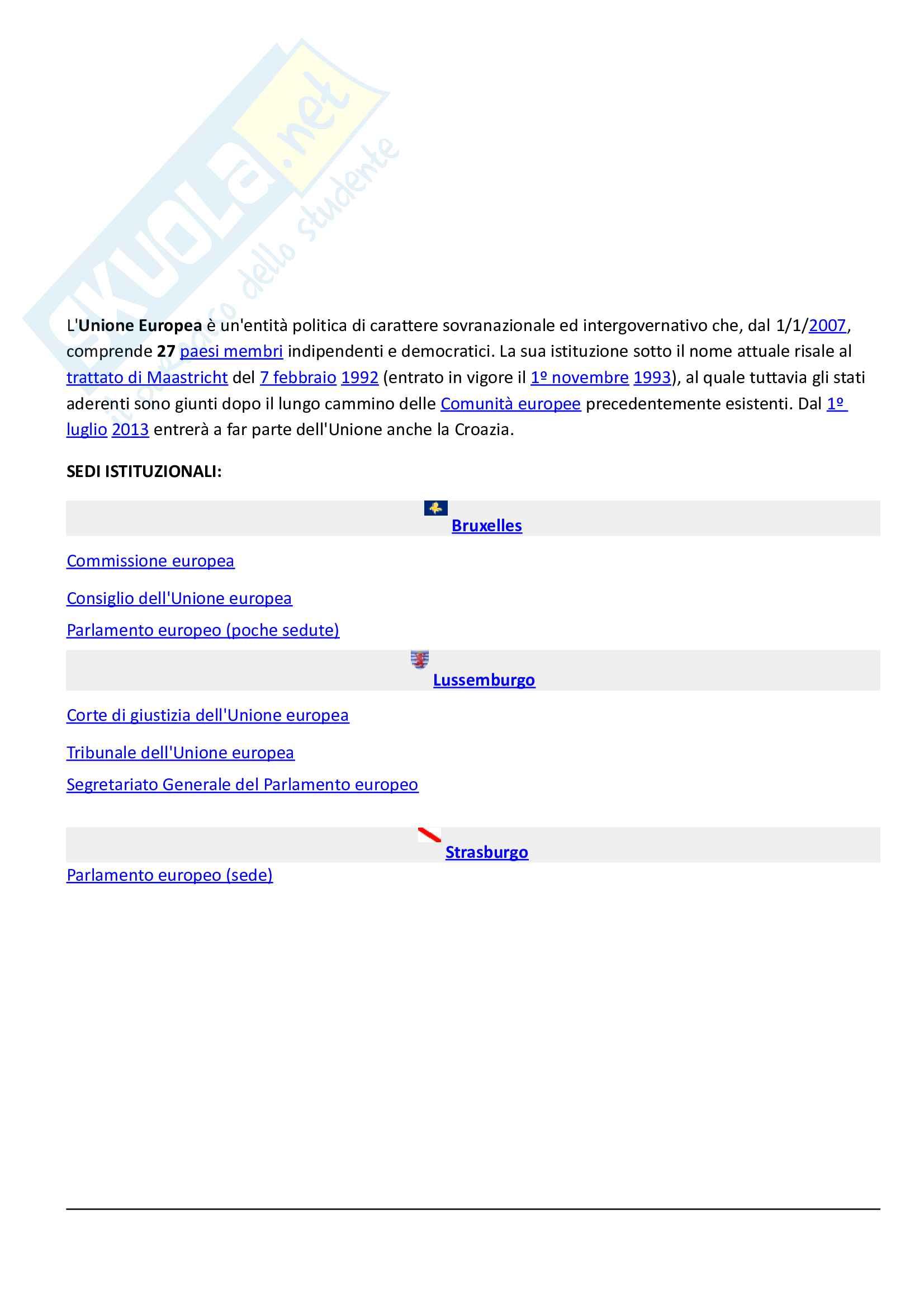 Riassunto esame Diritto dell'Unione Europea, prof. Di Federico, libro consigliato Diritto dell'Unione Europea, Tesauro
