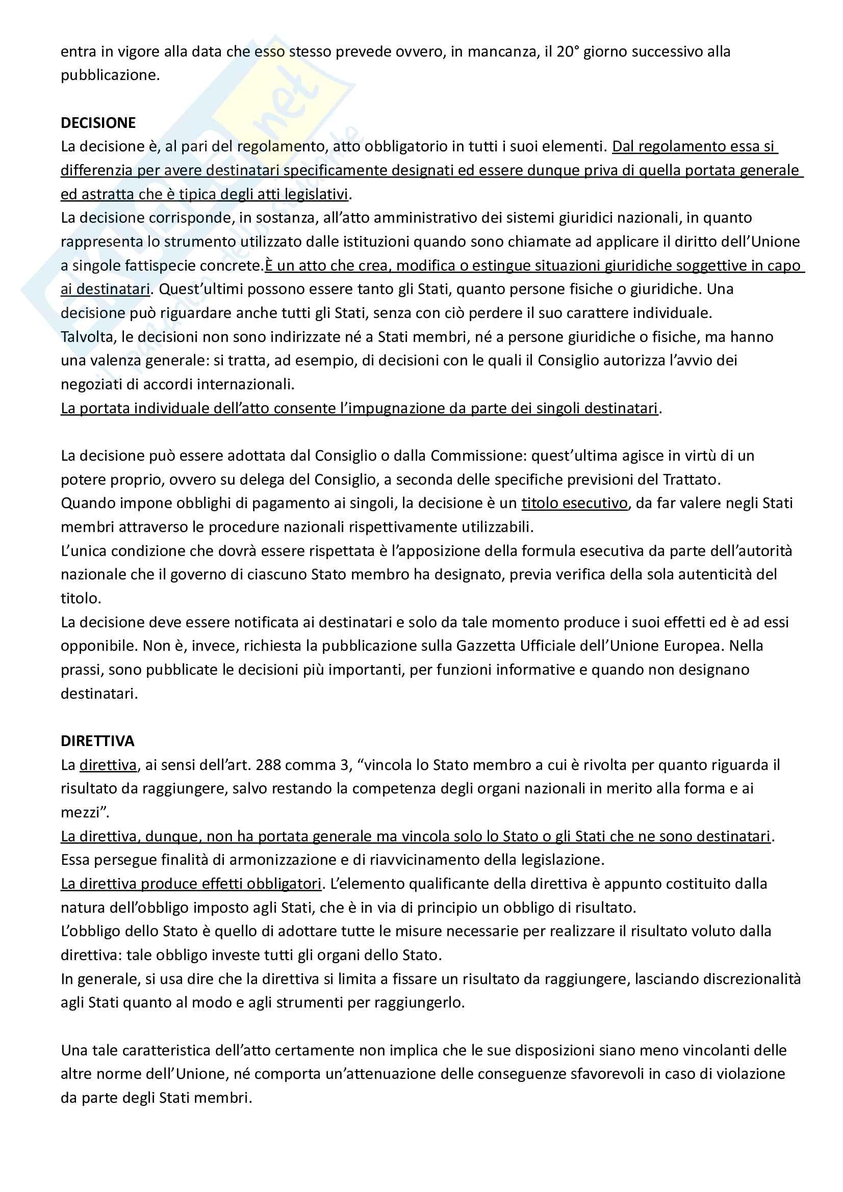 Riassunto esame Diritto dell'Unione Europea, prof. Di Federico, libro consigliato Diritto dell'Unione Europea, Tesauro Pag. 36