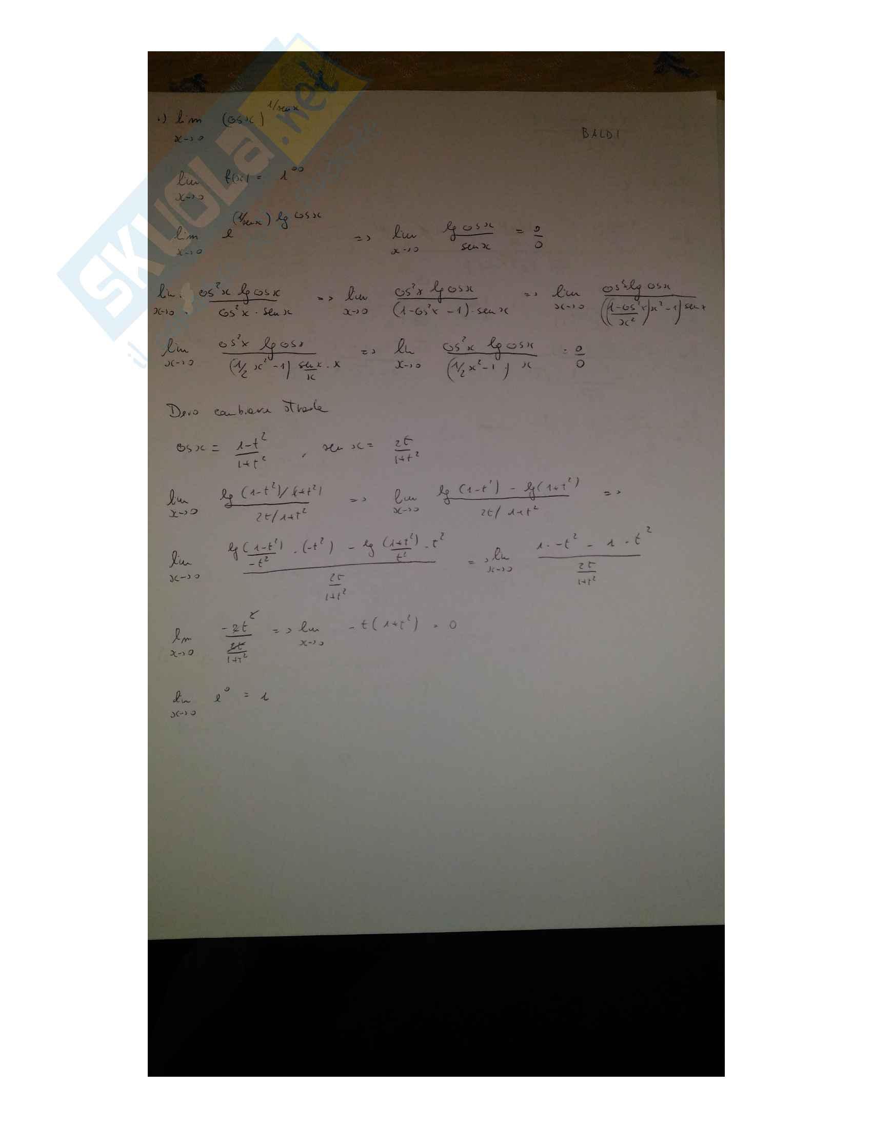 Prove d'esame: integrali e Limiti svolti