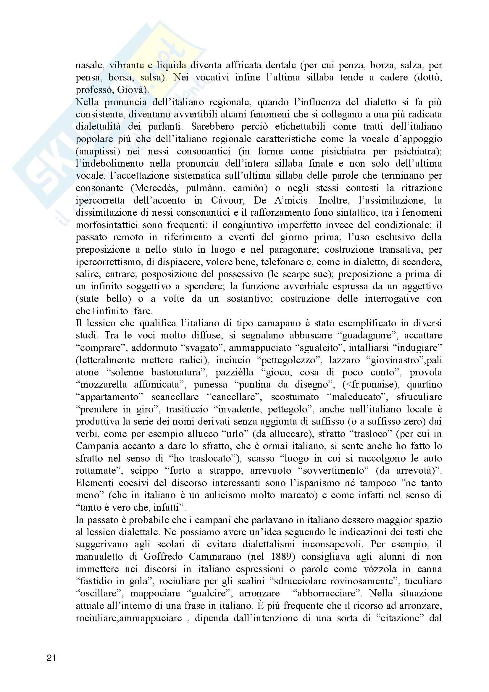 Linguistica italiana - profilo linguistico della Campania Pag. 21