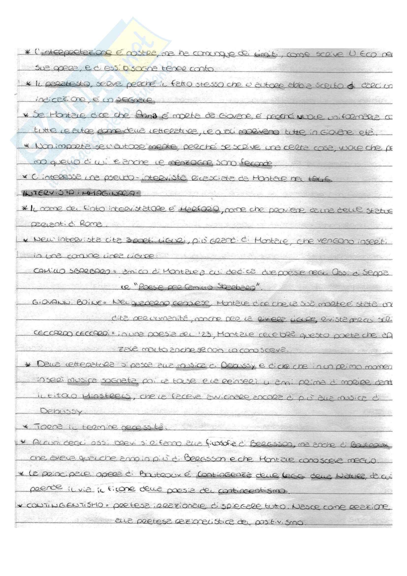 Appunti di Letteratura Italiana Contemporanea, Esame Vinicio Pacca, Programma Montale Pag. 6