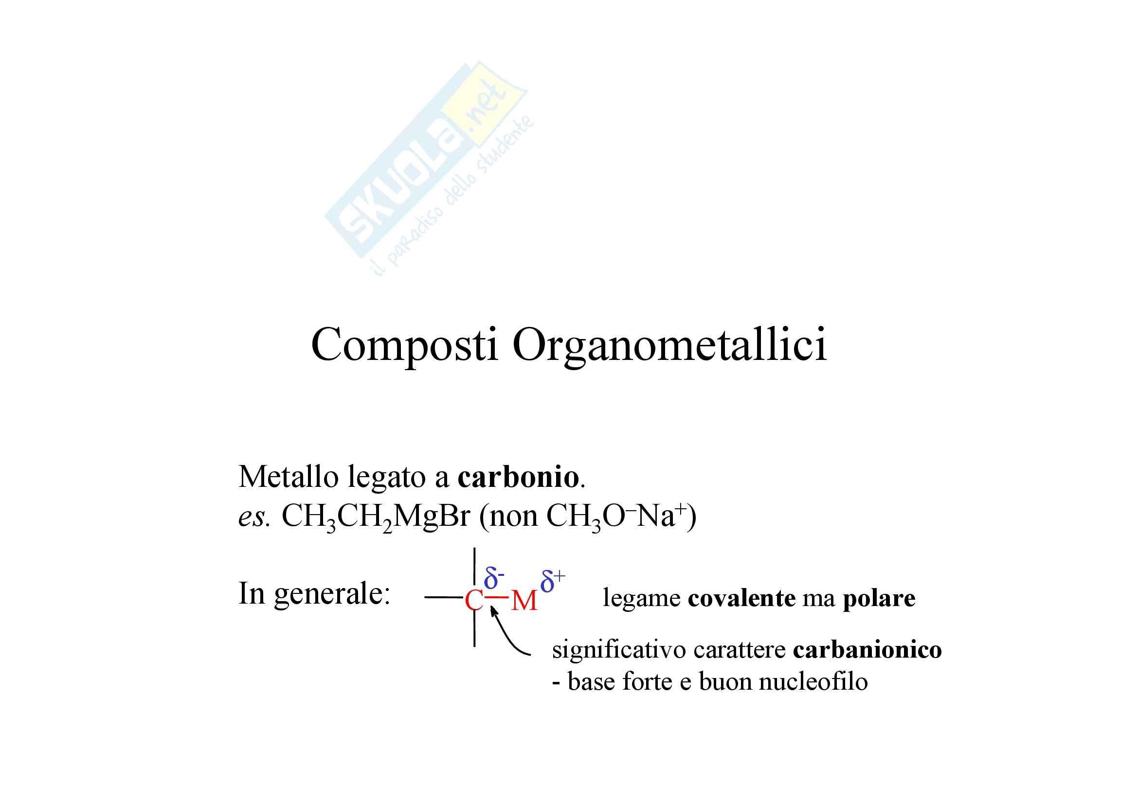 Chimica organica - composti organometallici