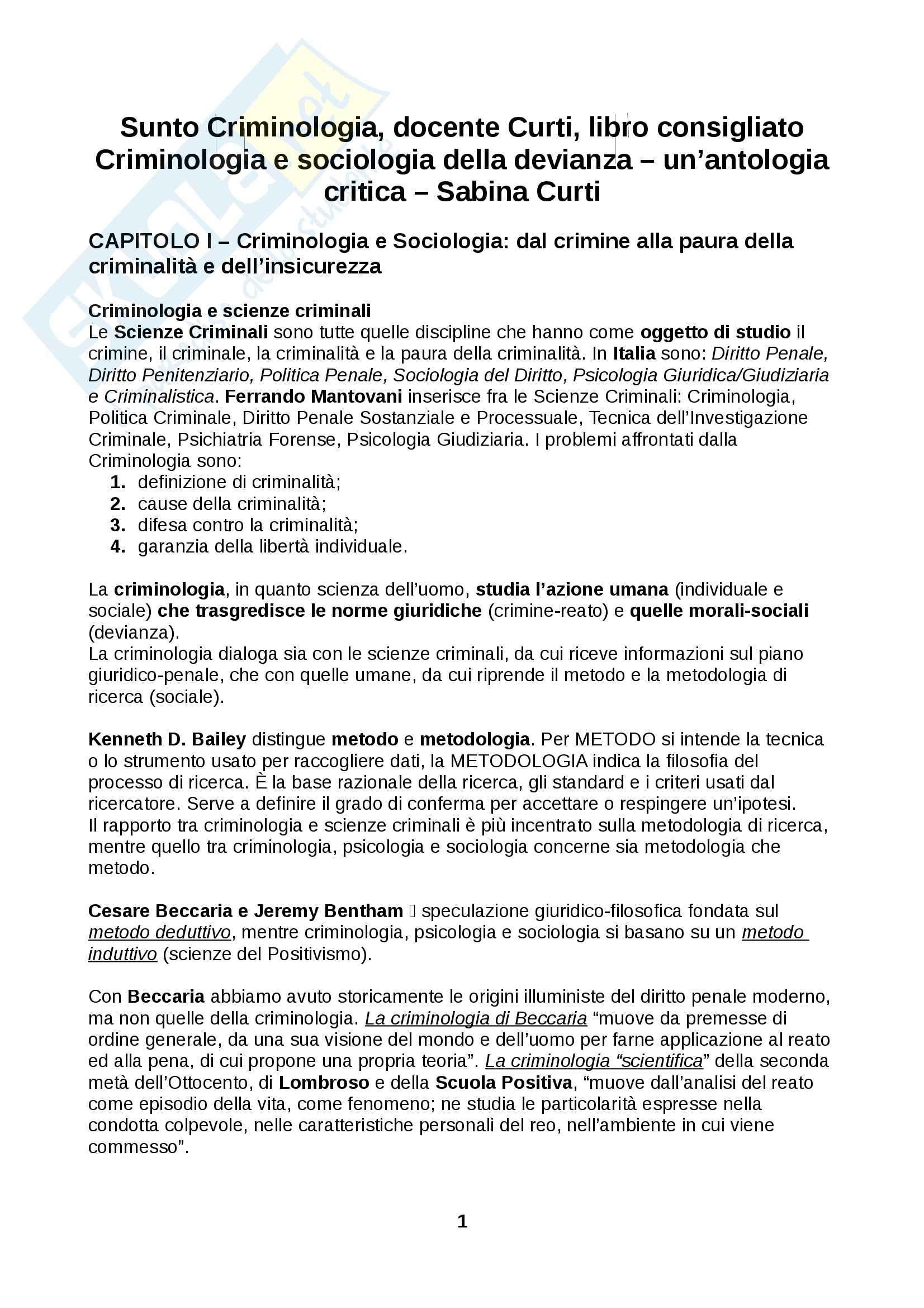 Riassunto esame Criminologia docente Curti, libro consigliato Criminologia e sociologia della devianza un'antologia critica Sabina Curti