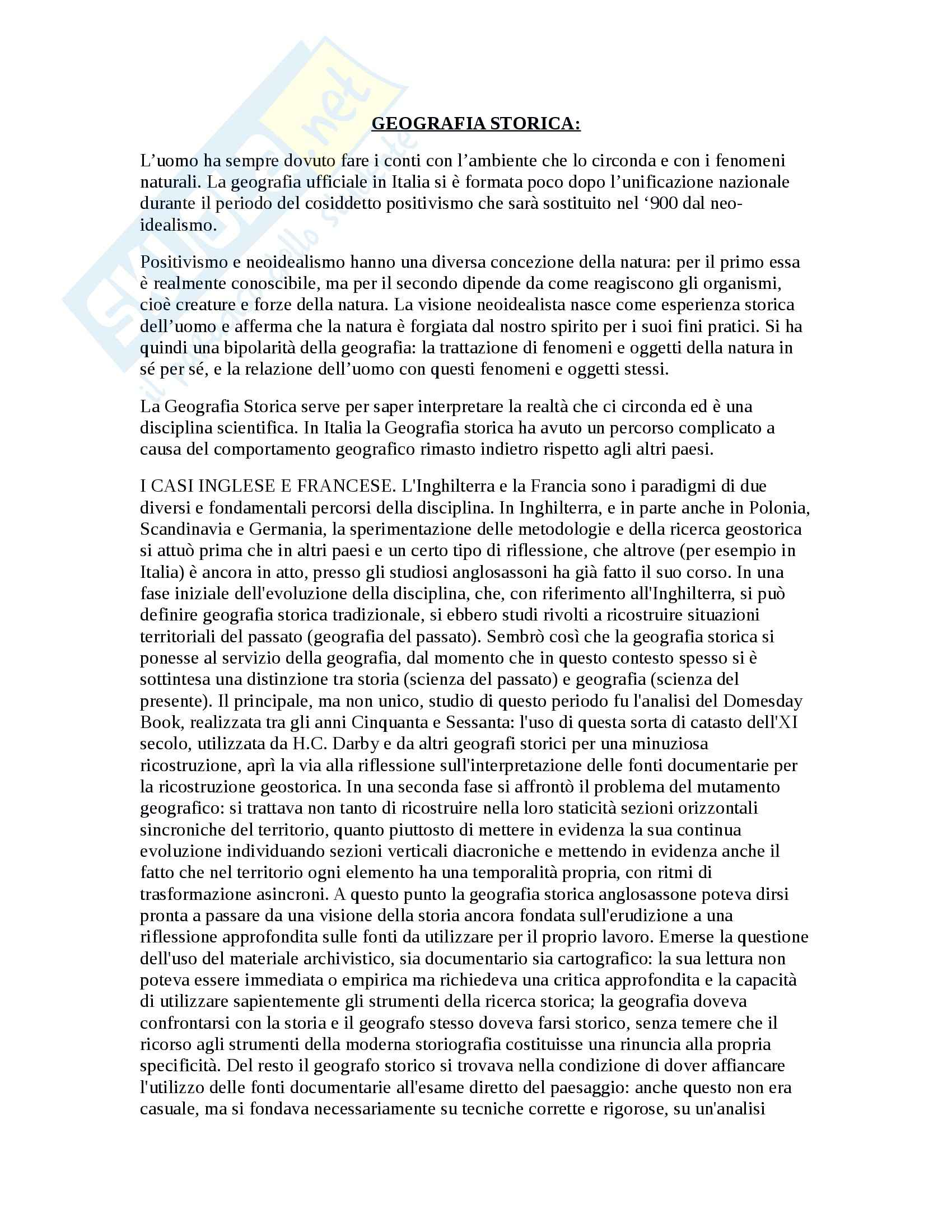 Riassunto esame Geografia Storica, prof. Spagnoli, libro consigliato Dallo Sviluppo della Geografia Storica a Guaini di Braudel, Gambi