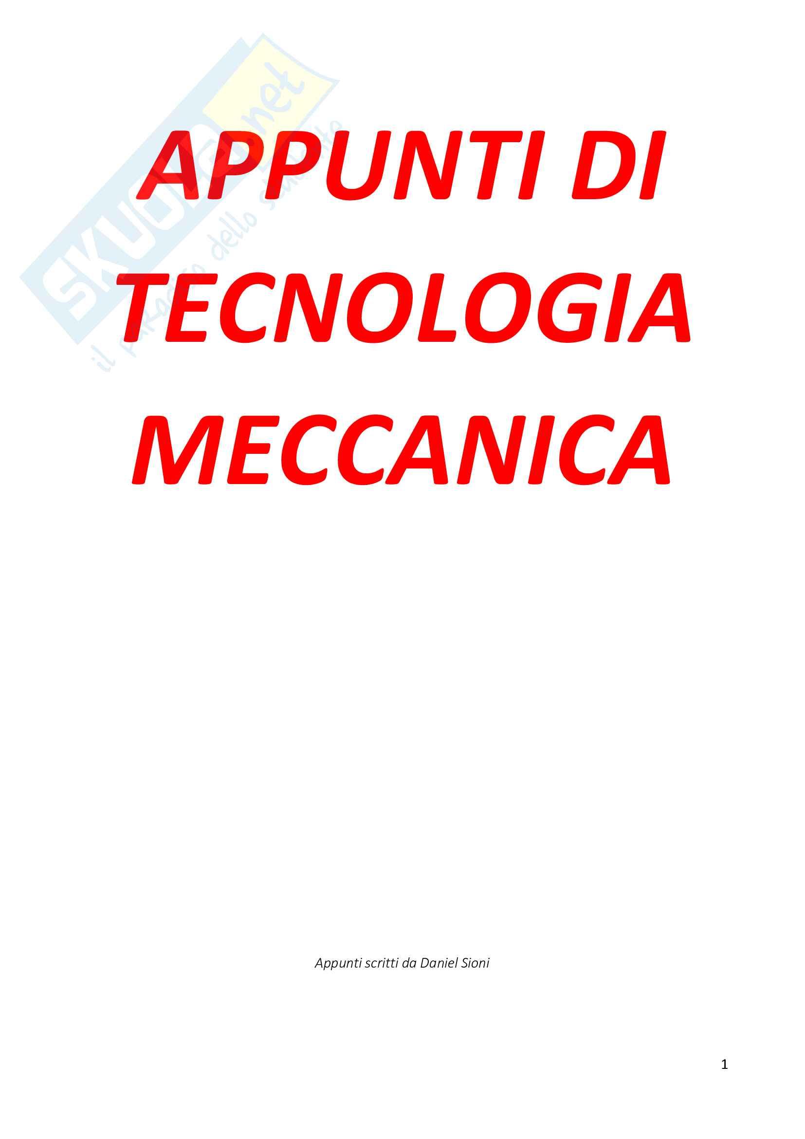 Appunti di Tecnologia Meccanica 1