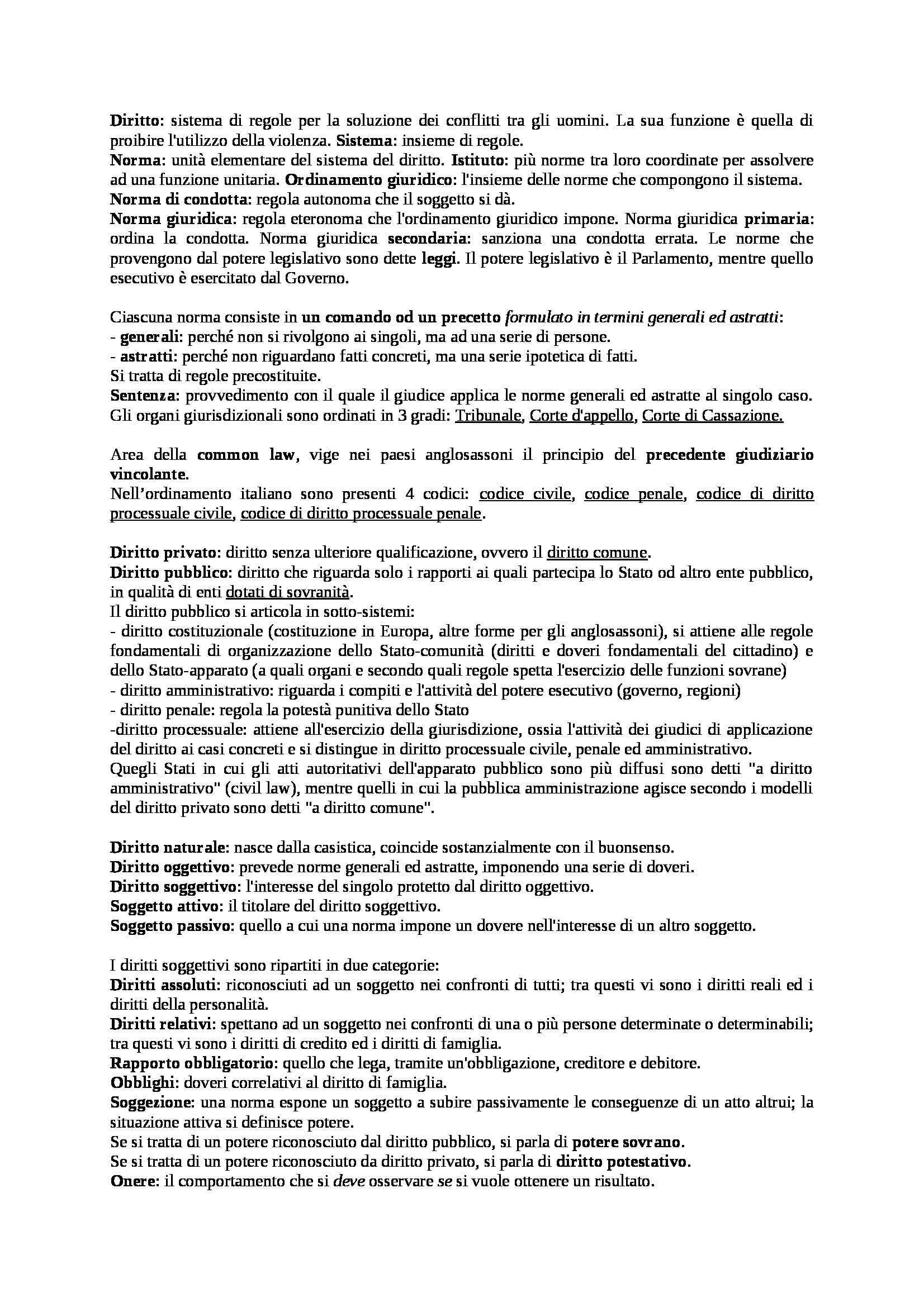 Riassunto esame Diritto Privato, prof. Costanza