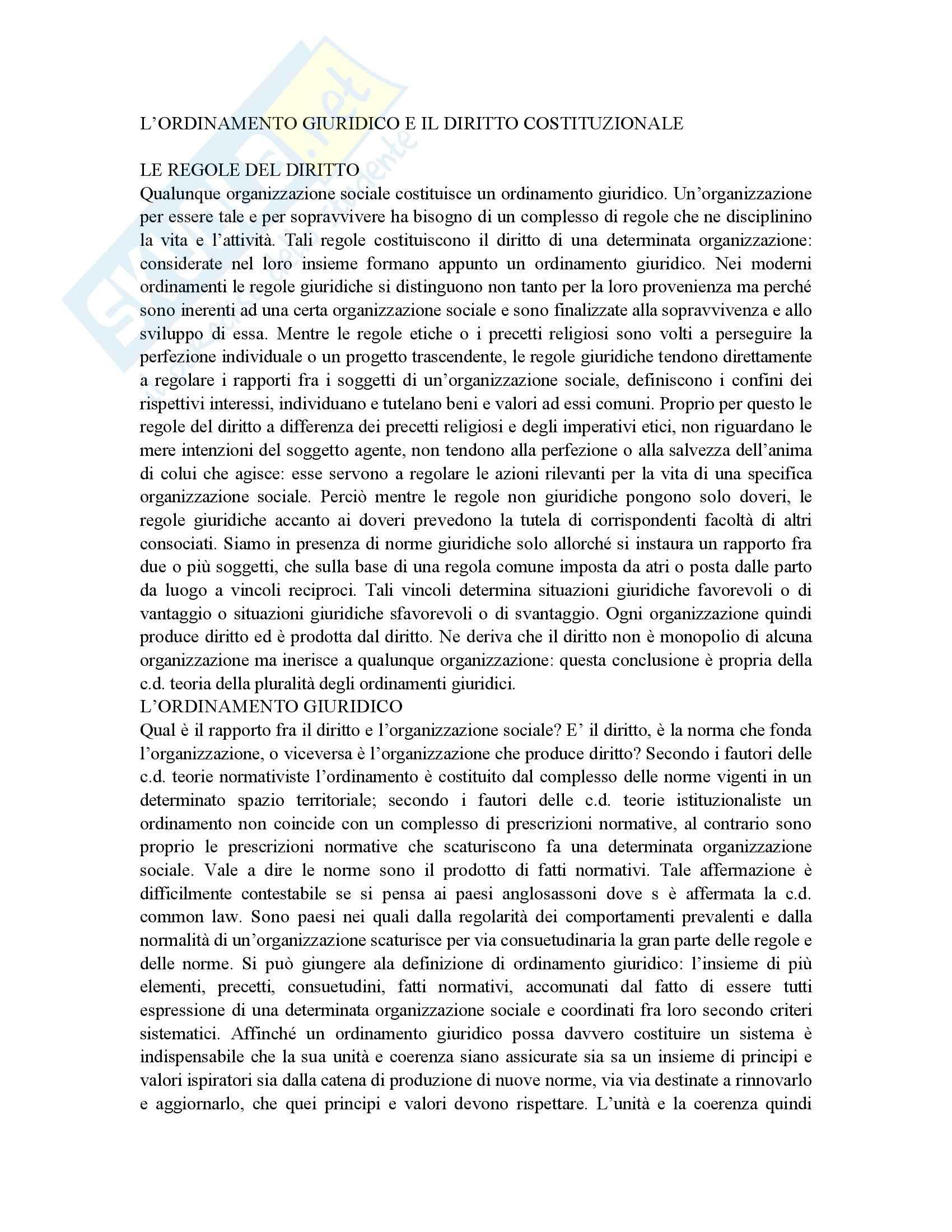 Riassunto esame Istituzioni di Diritto Pubblico, prof. Gnes, libro consigliato Corso di Diritto pubblico, Barbera, Fusaro