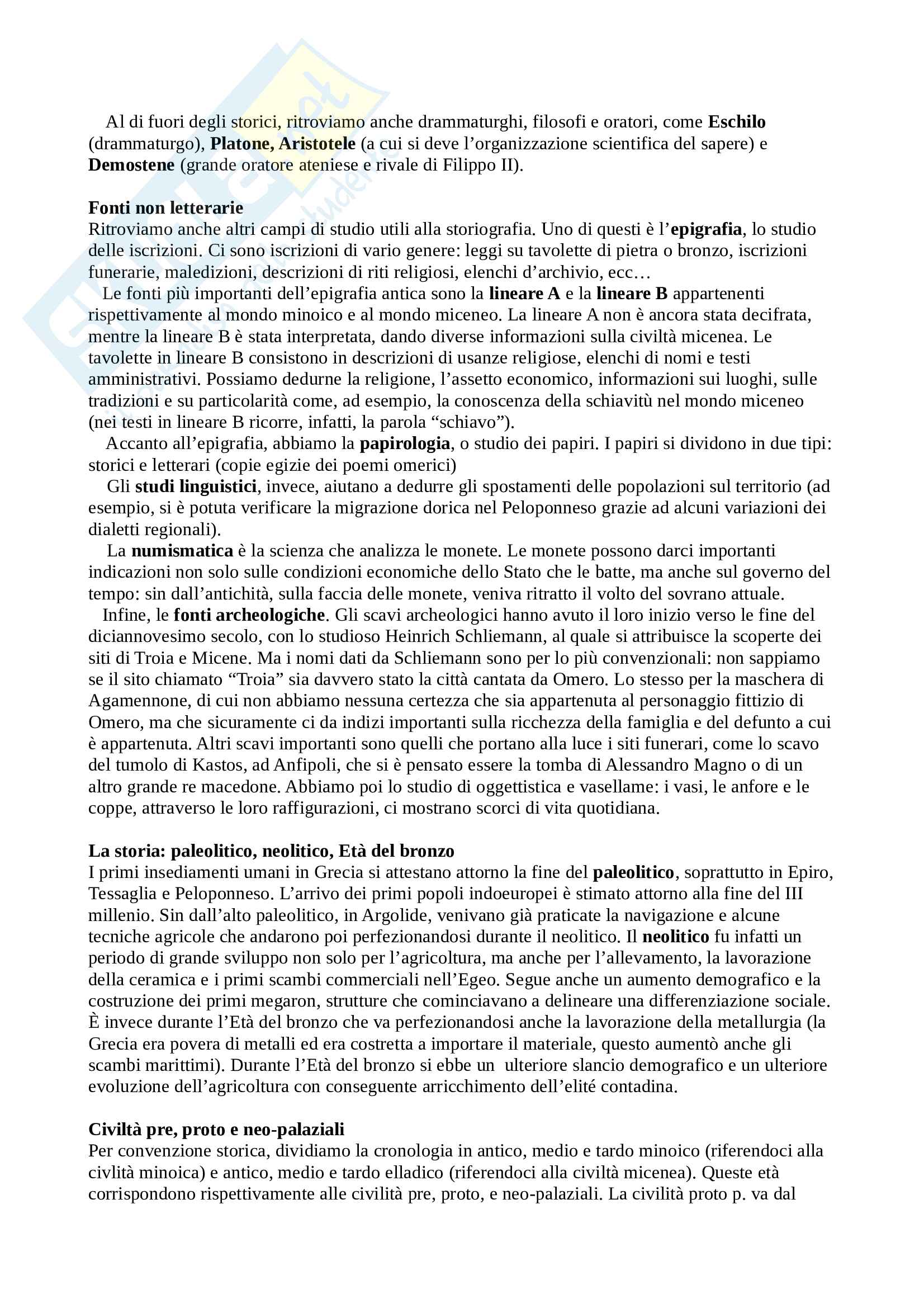 Dal paleolitico ad Alessandro Magno - Storia greca Pag. 2
