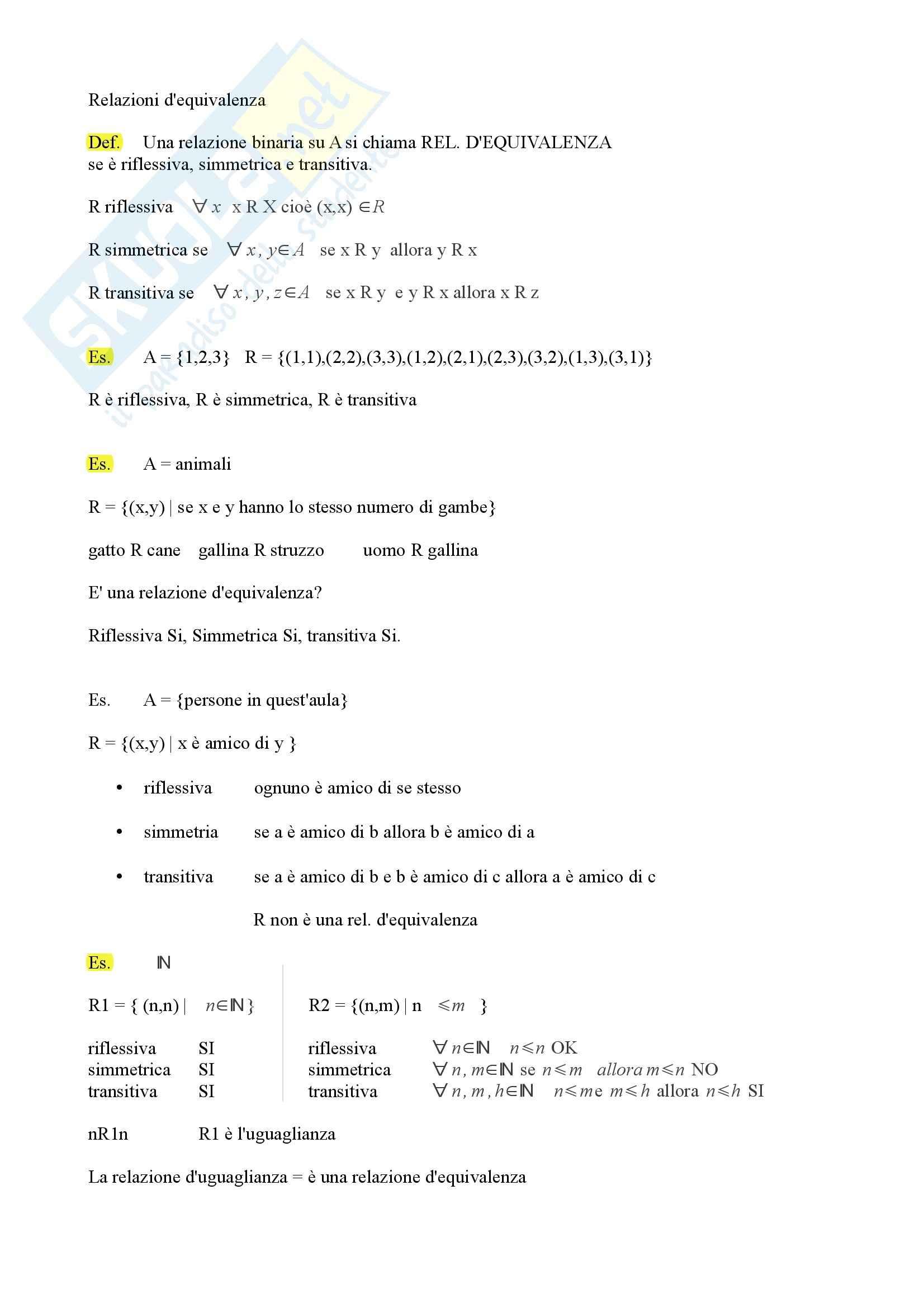 Algebra e geometria - relazioni e classi di equivalenza