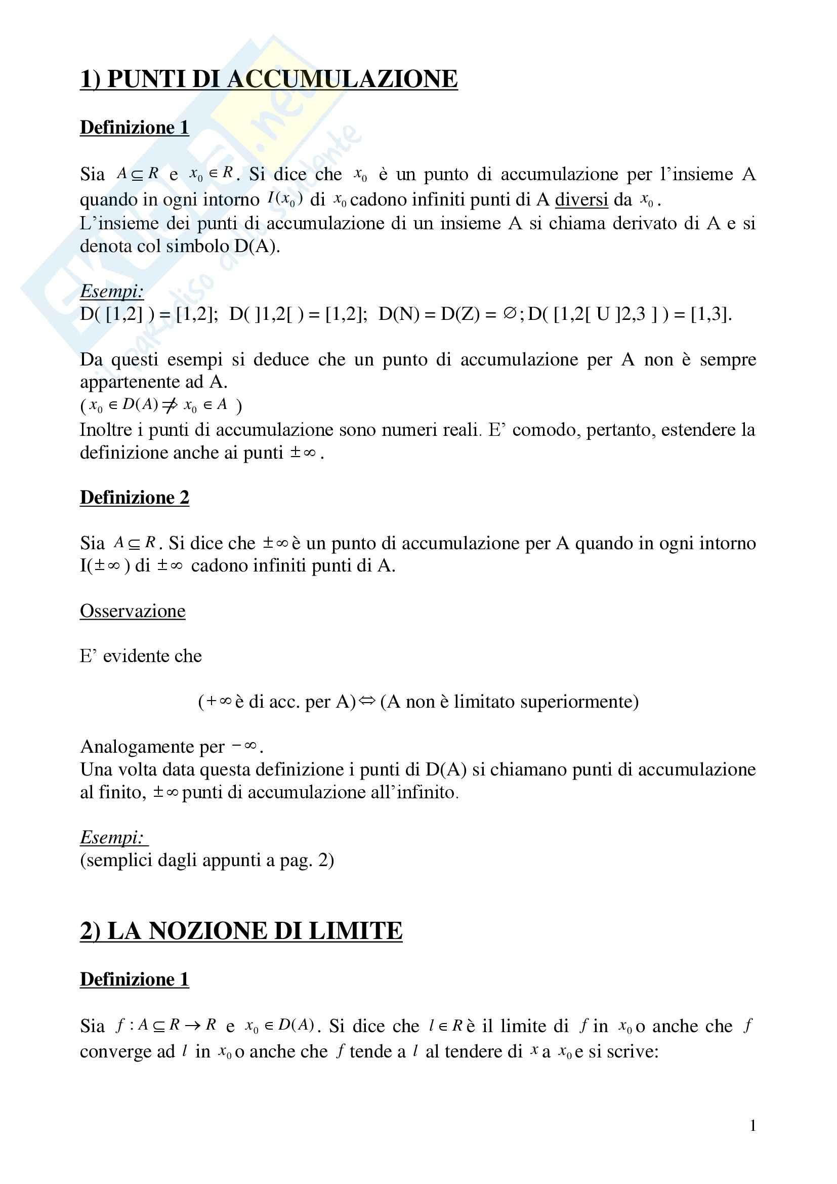 Analisi matematica I - i punti di accumulazione