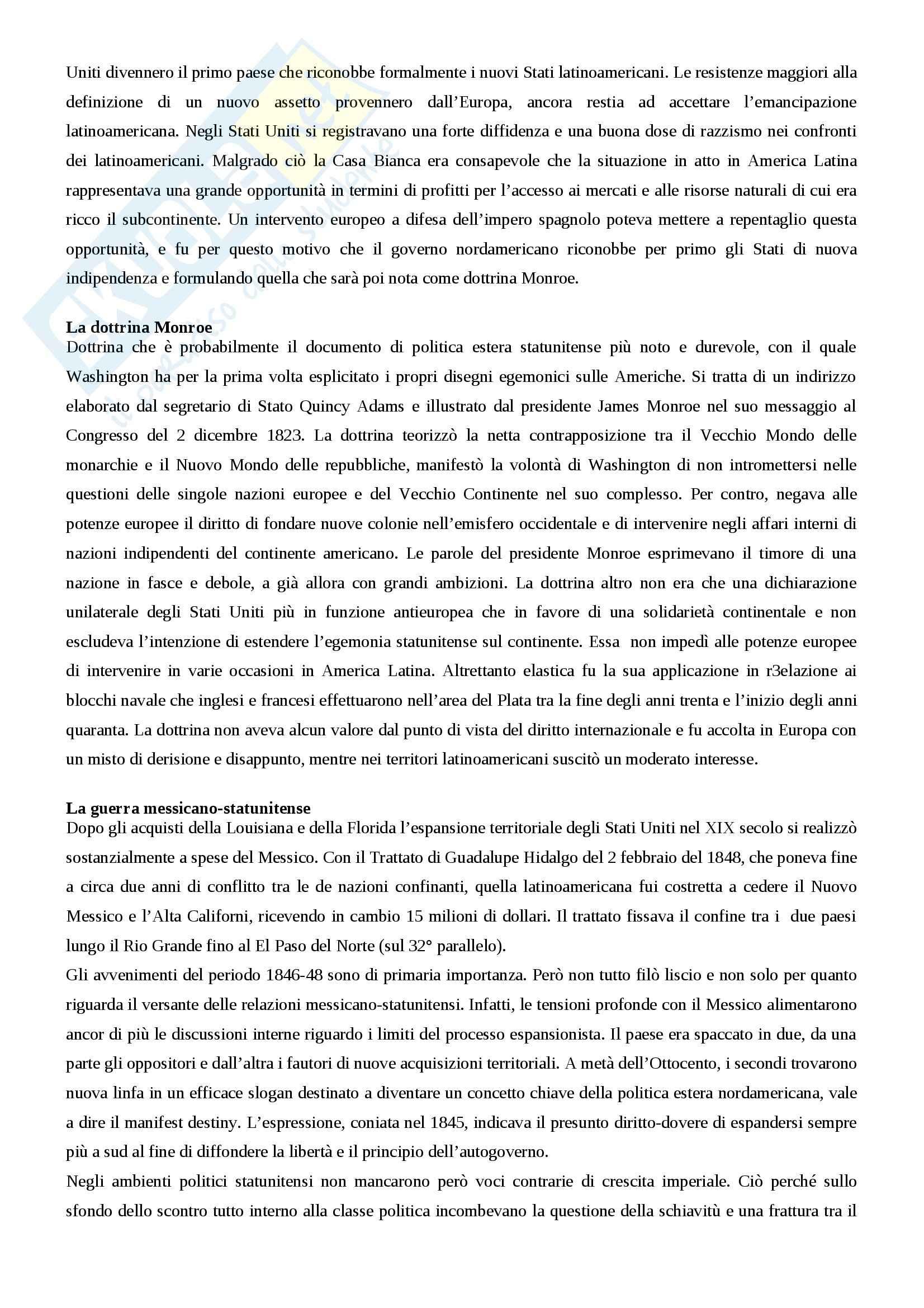 Riassunto esame storia dell'America latina, prof. Nocera, libro consigliato Stati Uniti e America Latina dal 1823 ad oggi, Nocera Pag. 2