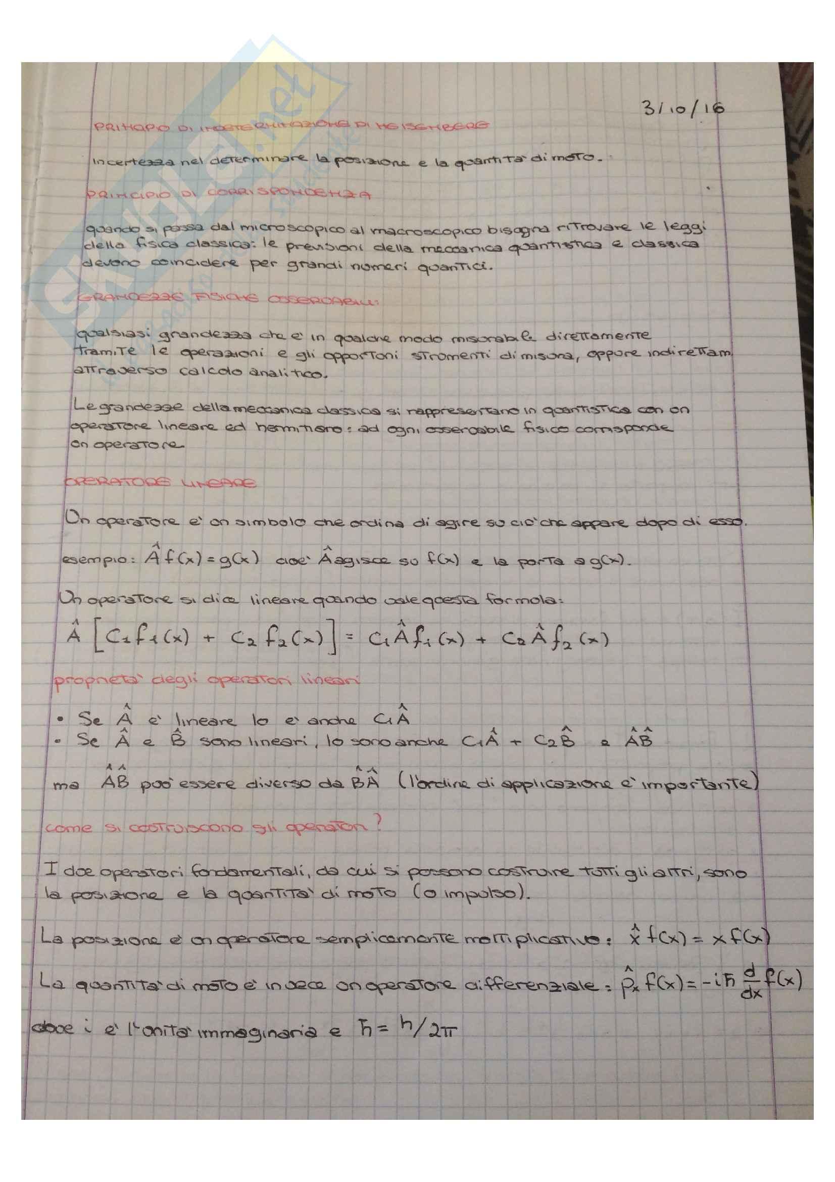 Appunti di Meccanica quantistica