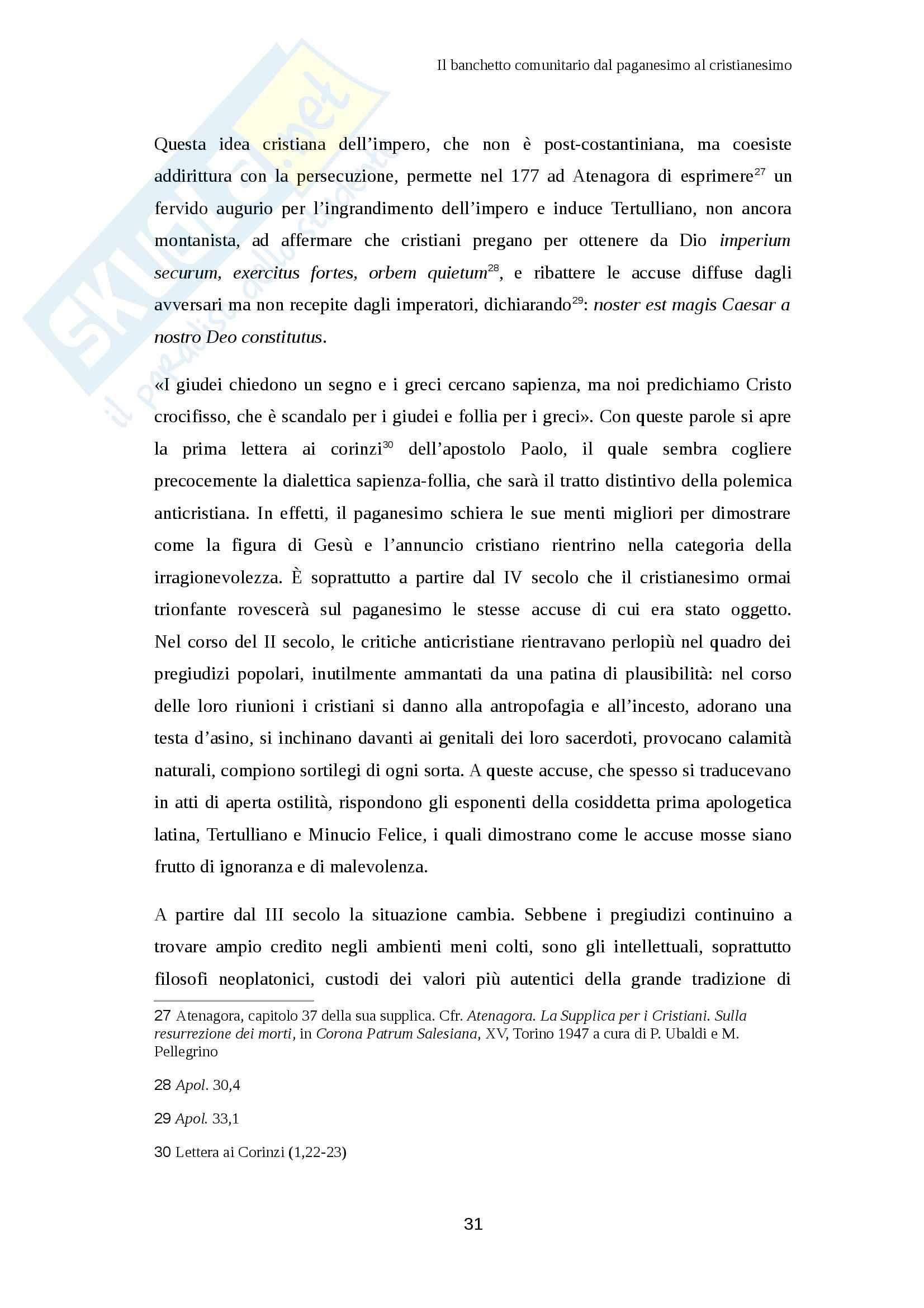 Il banchetto comunitario dal paganesimo al cristianesimo, Filologia Pag. 31