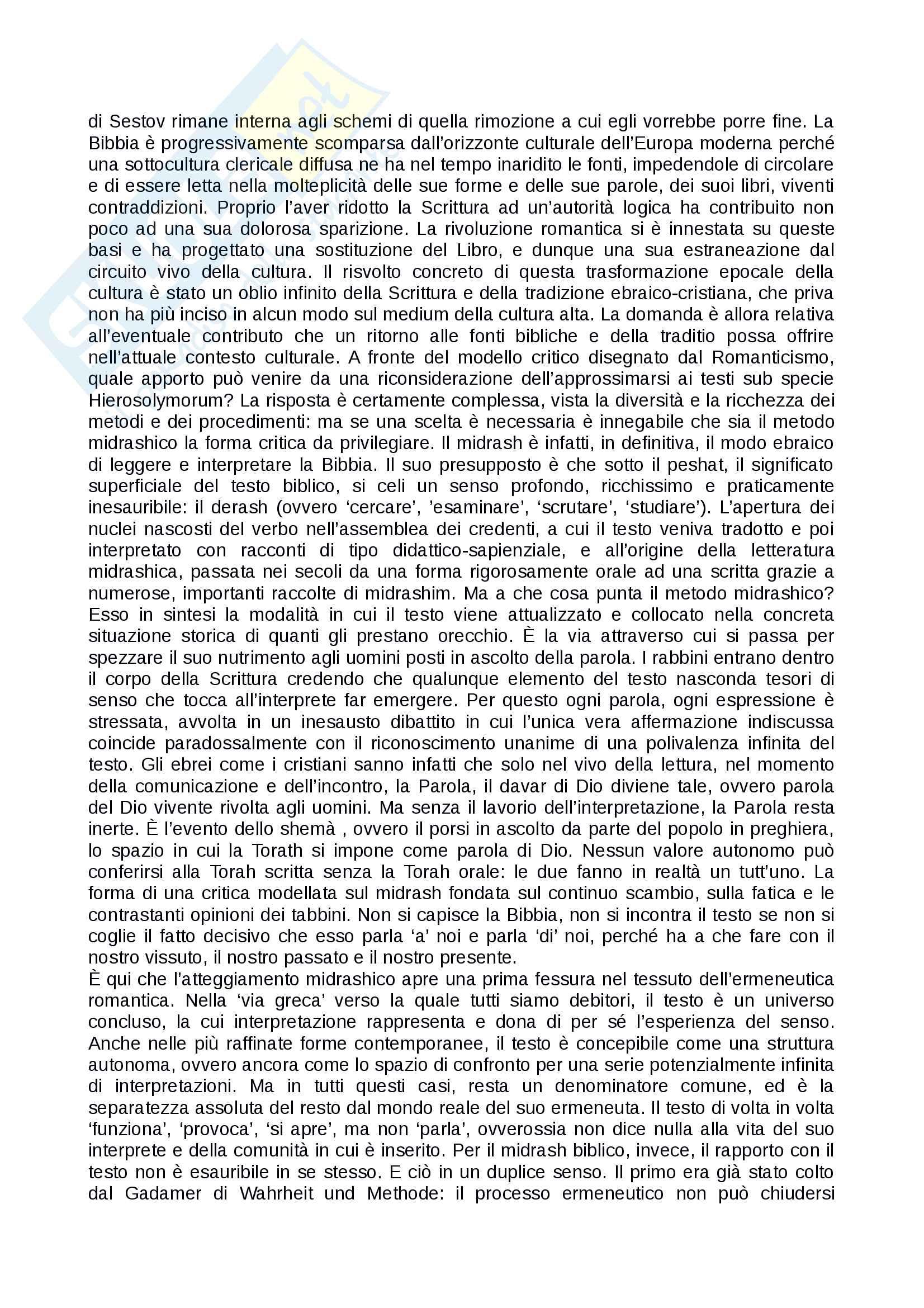Riassunto esame ermeneutica, docente Sichera, testo consigliato: Ceux qui cherchent en g missant Crepuscolo e nascondimento di Dio nella scrittura letteraria Pag. 6