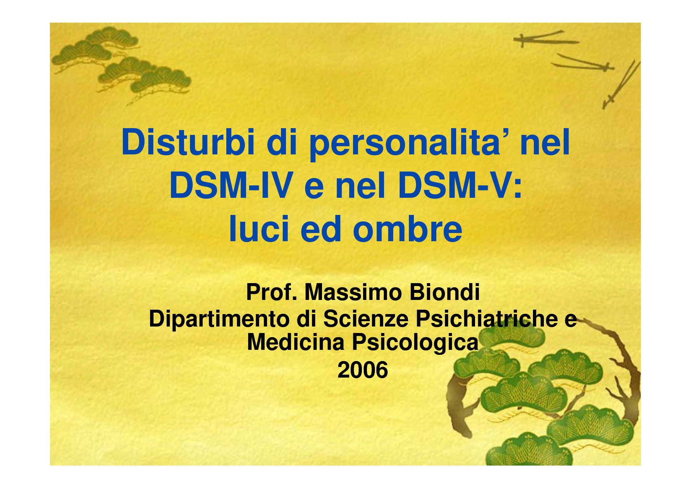 Disturbi di personalita' nel  DSM-IV e nel DSM-V