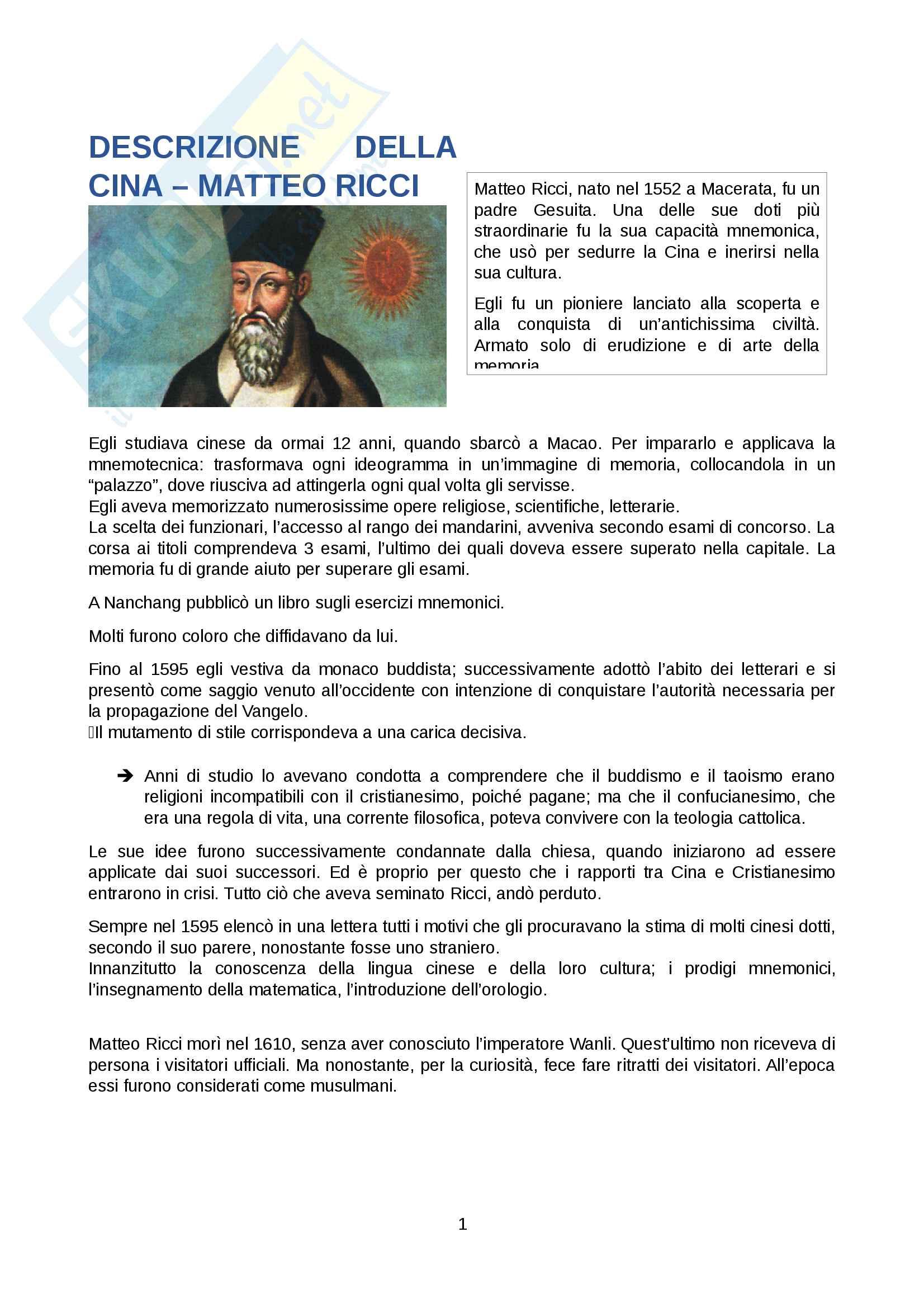 """Riassunto esame Storia Moderna, prof. Angelo Bianchi, libro consigliato """" Descrizione della Cina"""", Matteo Ricci"""