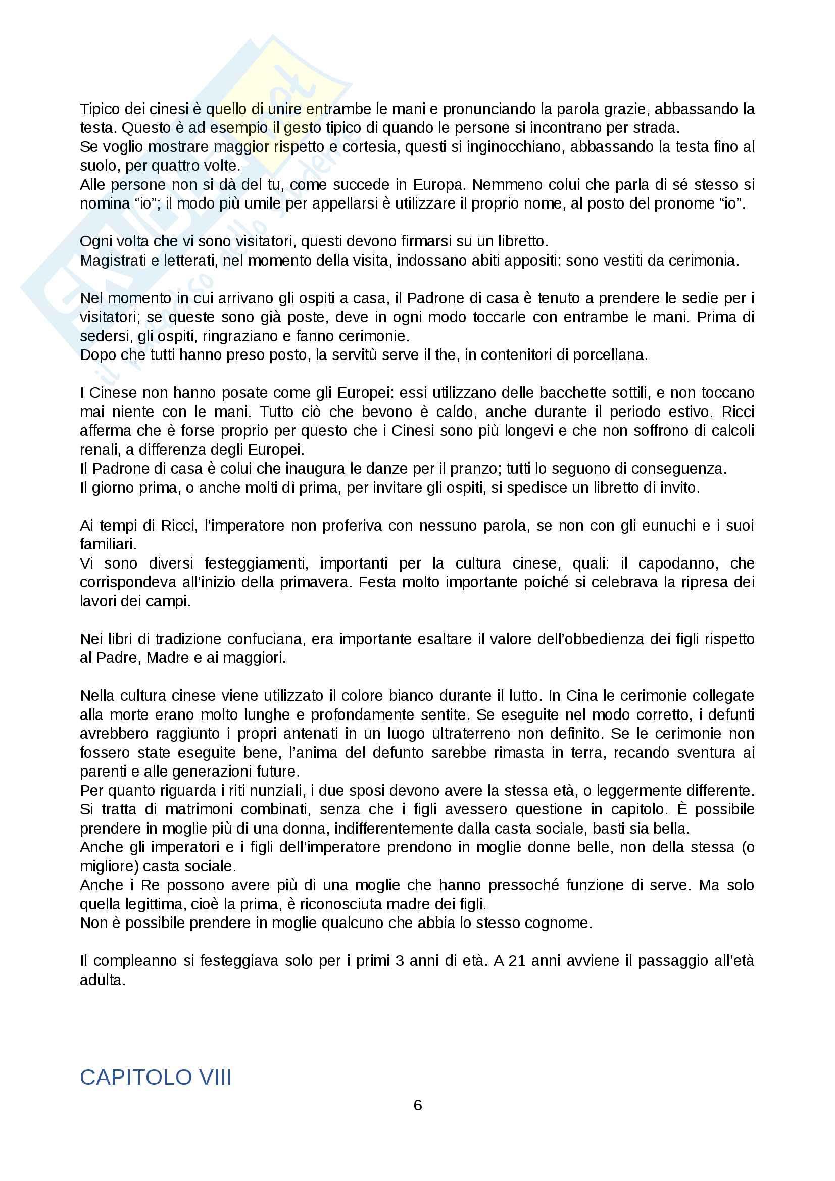 """Riassunto esame Storia Moderna, prof. Angelo Bianchi, libro consigliato """" Descrizione della Cina"""", Matteo Ricci Pag. 6"""