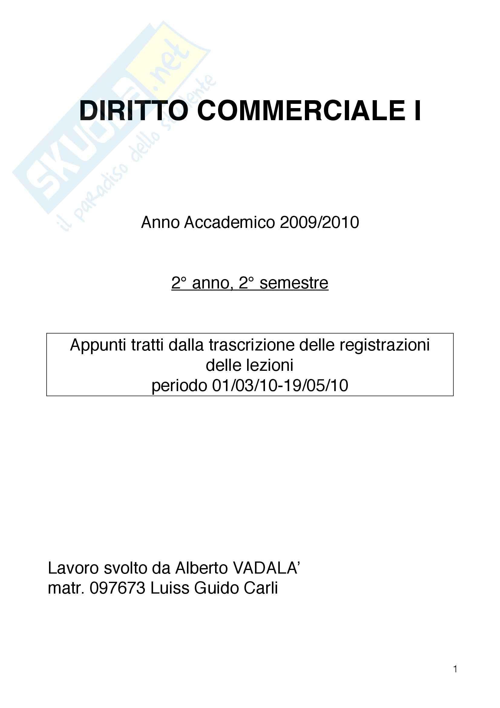 appunto G. Mosco Diritto Commerciale I