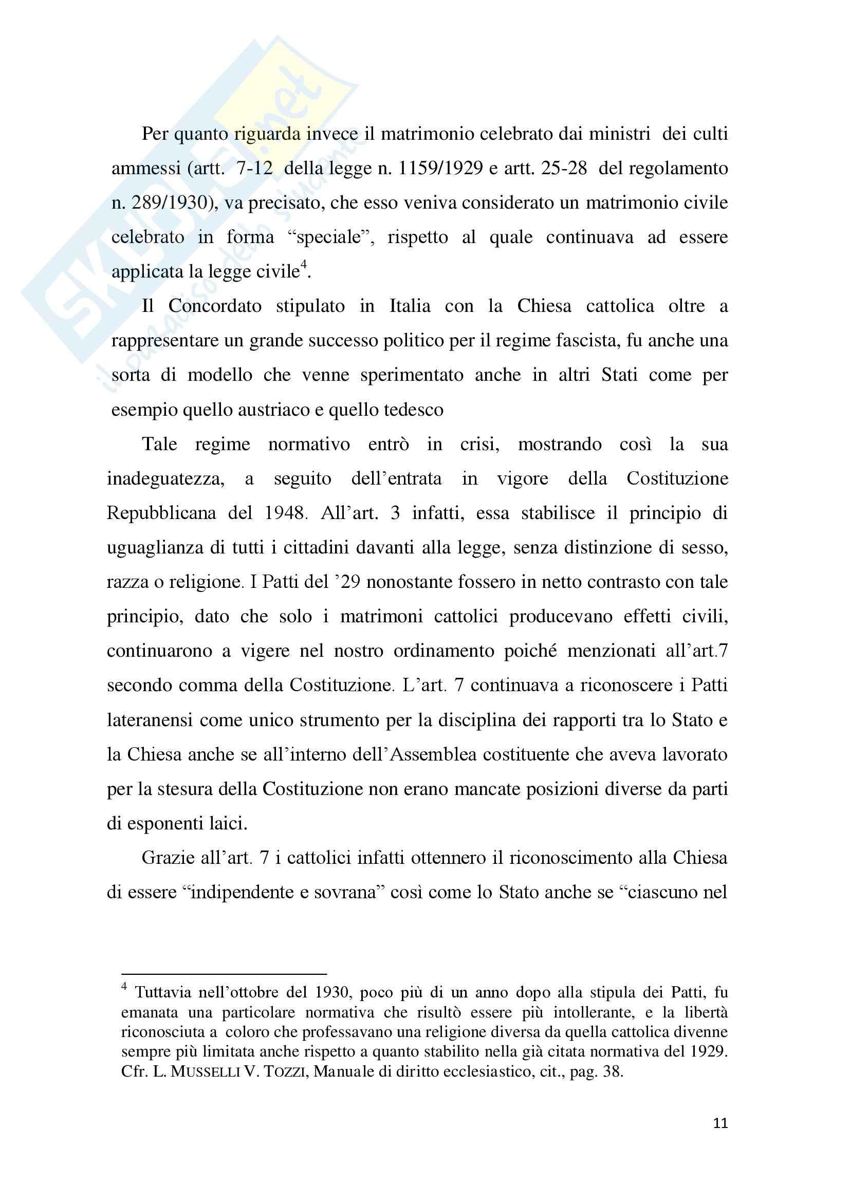 Tesi Diritto ecclesiastico - La trascrizione del matrimonio canonico Pag. 11