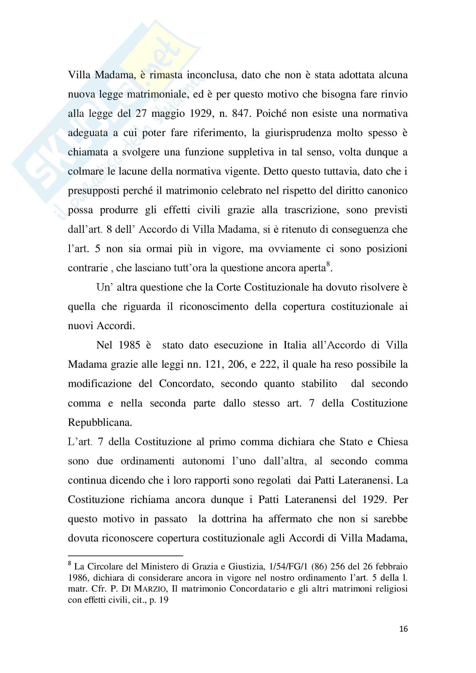 Tesi Diritto ecclesiastico - La trascrizione del matrimonio canonico Pag. 16