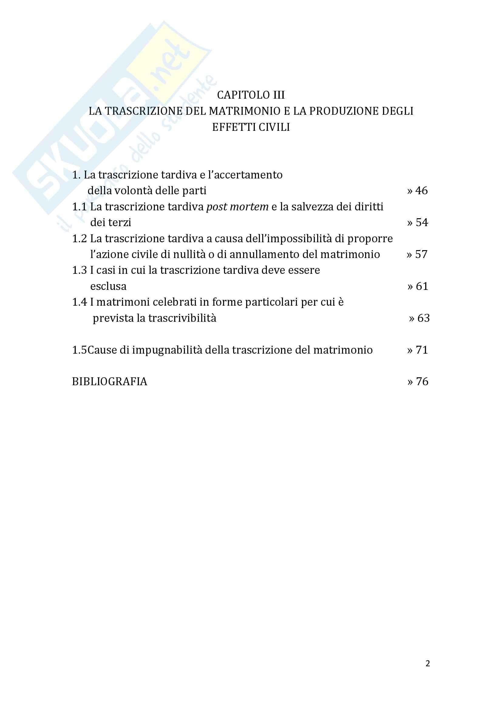 Tesi Diritto ecclesiastico - La trascrizione del matrimonio canonico Pag. 2
