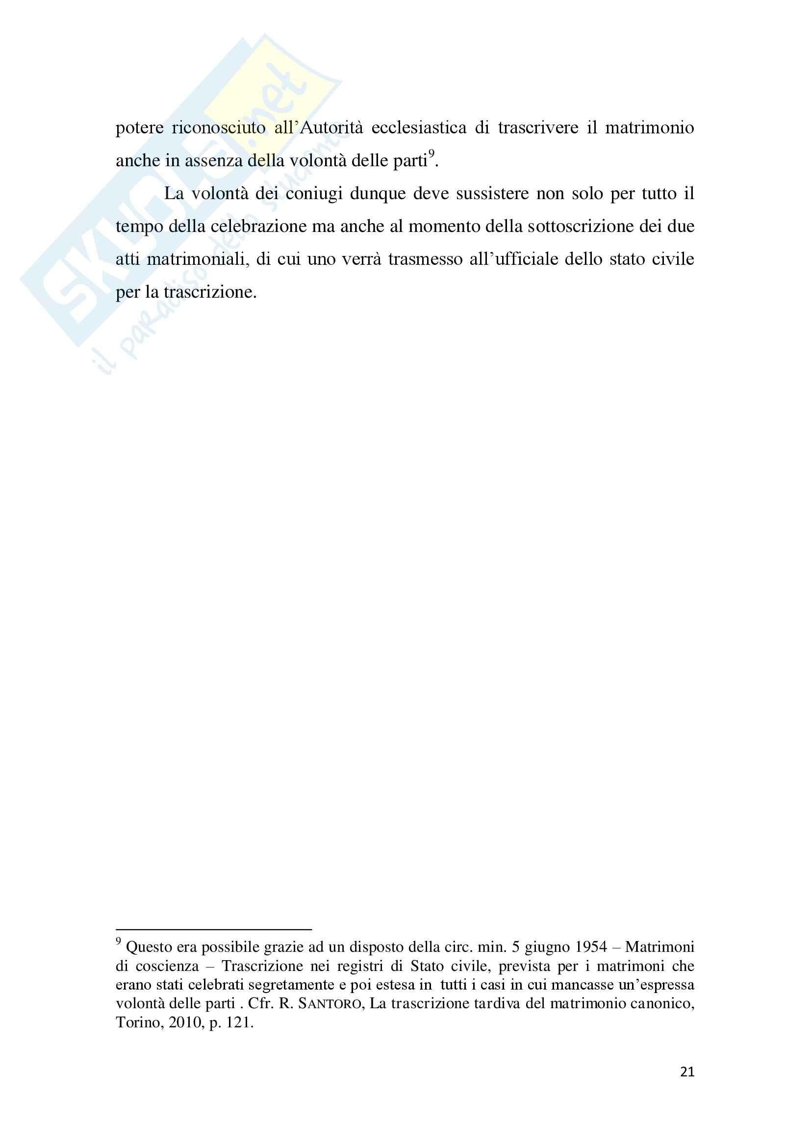 Tesi Diritto ecclesiastico - La trascrizione del matrimonio canonico Pag. 21
