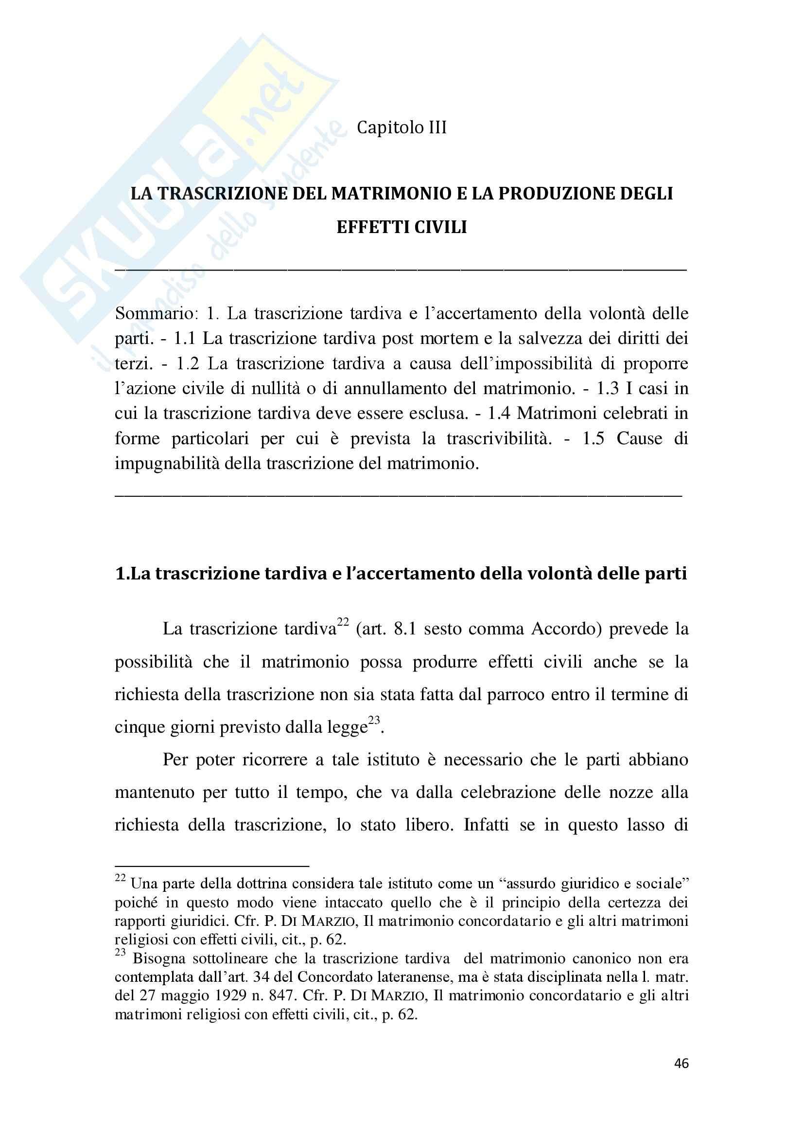 Tesi Diritto ecclesiastico - La trascrizione del matrimonio canonico Pag. 46