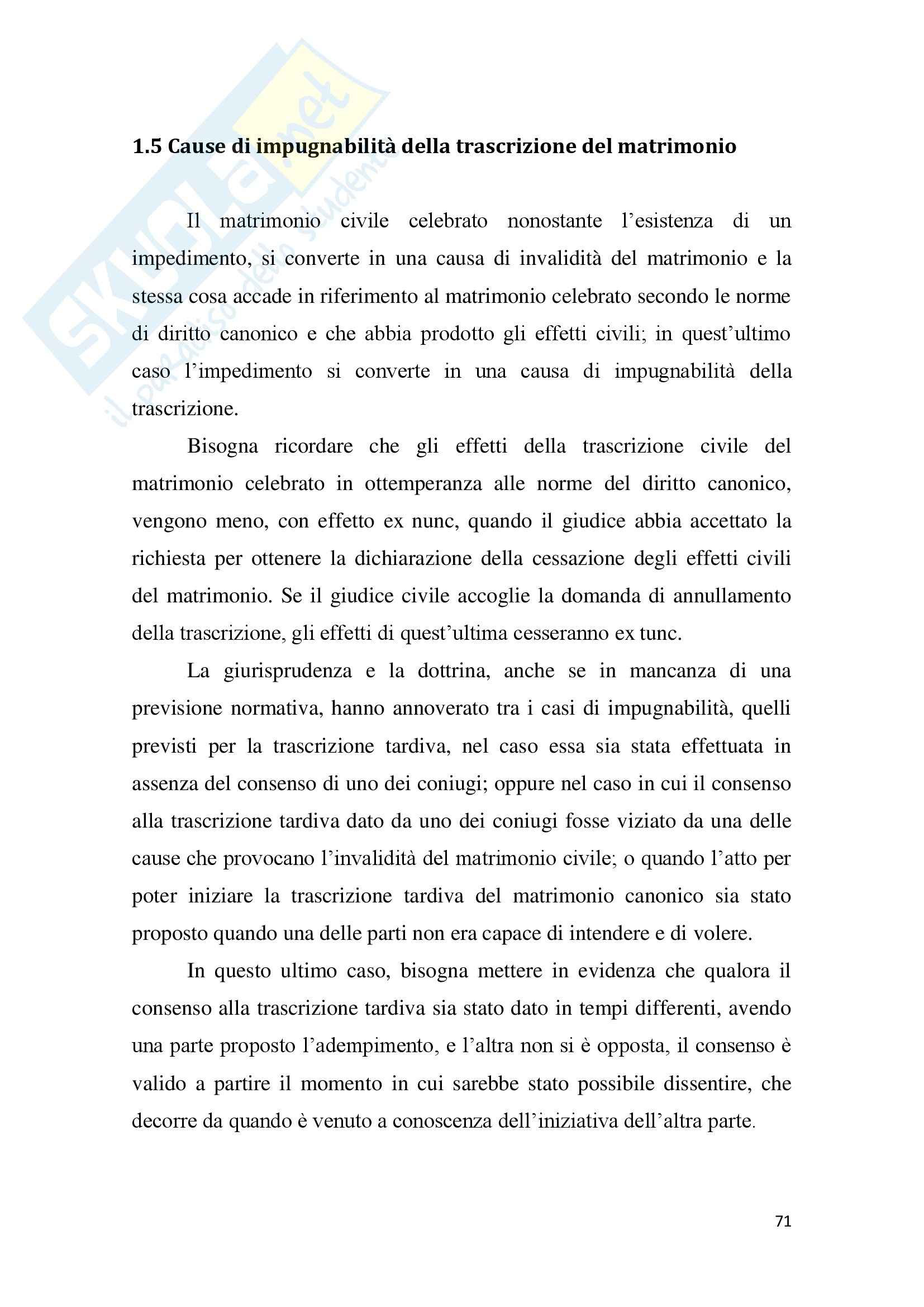 Tesi Diritto ecclesiastico - La trascrizione del matrimonio canonico Pag. 71