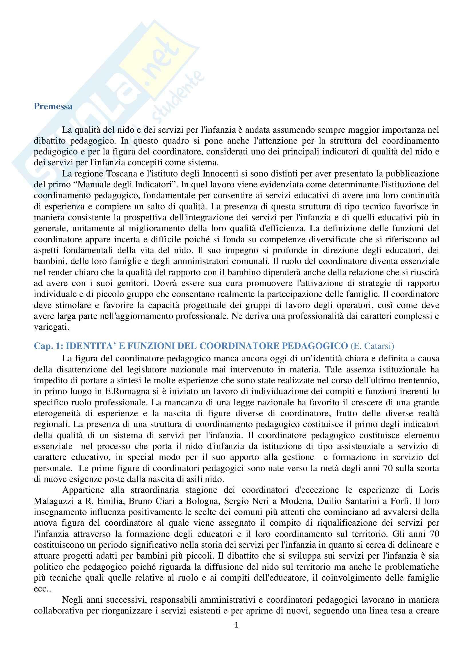 Riassunto esame Pedagogia della Famiglia, prof. Catarsi, libro consigliato Coordinamento Pedagogico di Catarsi