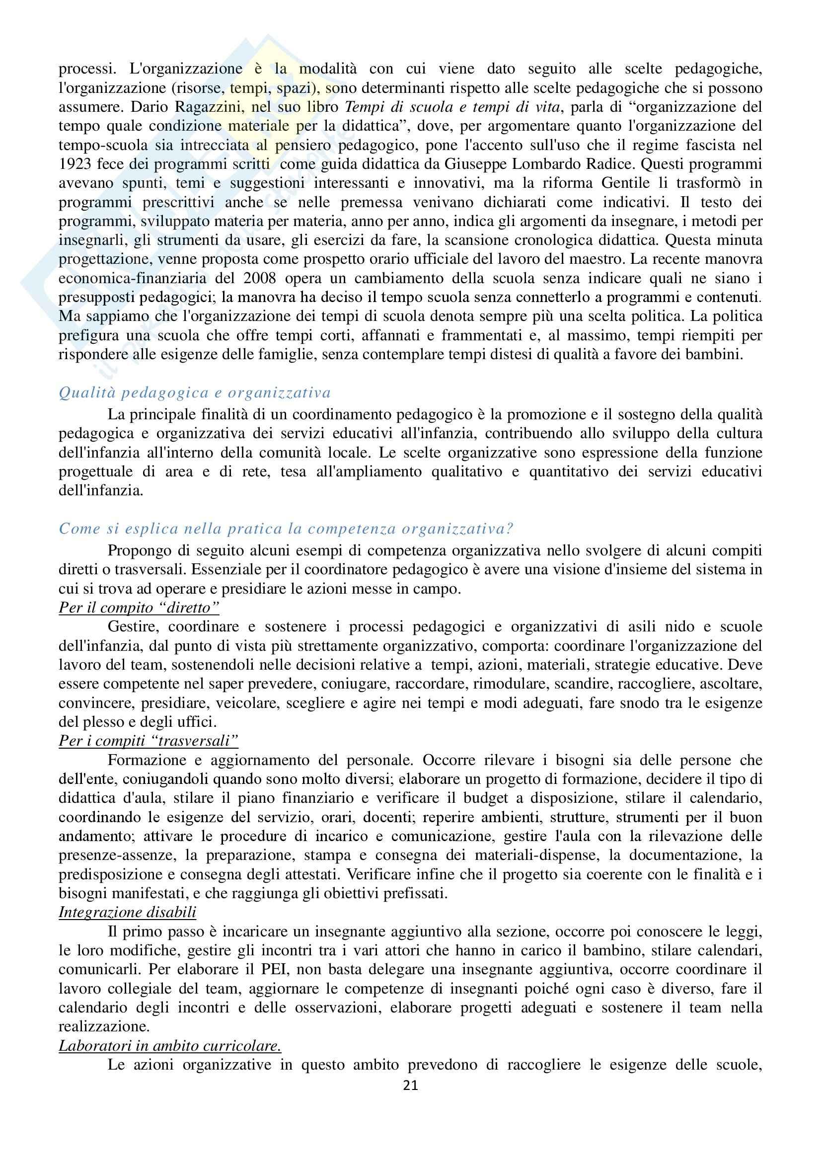Riassunto esame Pedagogia della Famiglia, prof. Catarsi, libro consigliato Coordinamento Pedagogico di Catarsi Pag. 21