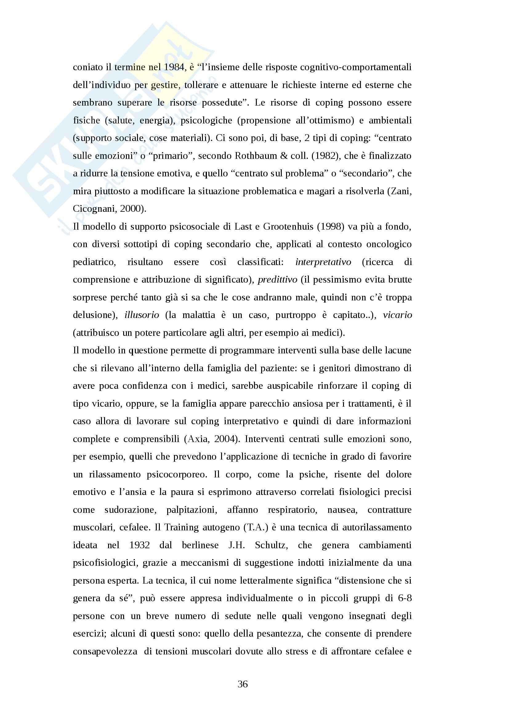Tesi magistrale - Il vissuto depressivo nella famiglia del paziente oncologico pediatrico affetto da patologia cronica Pag. 36