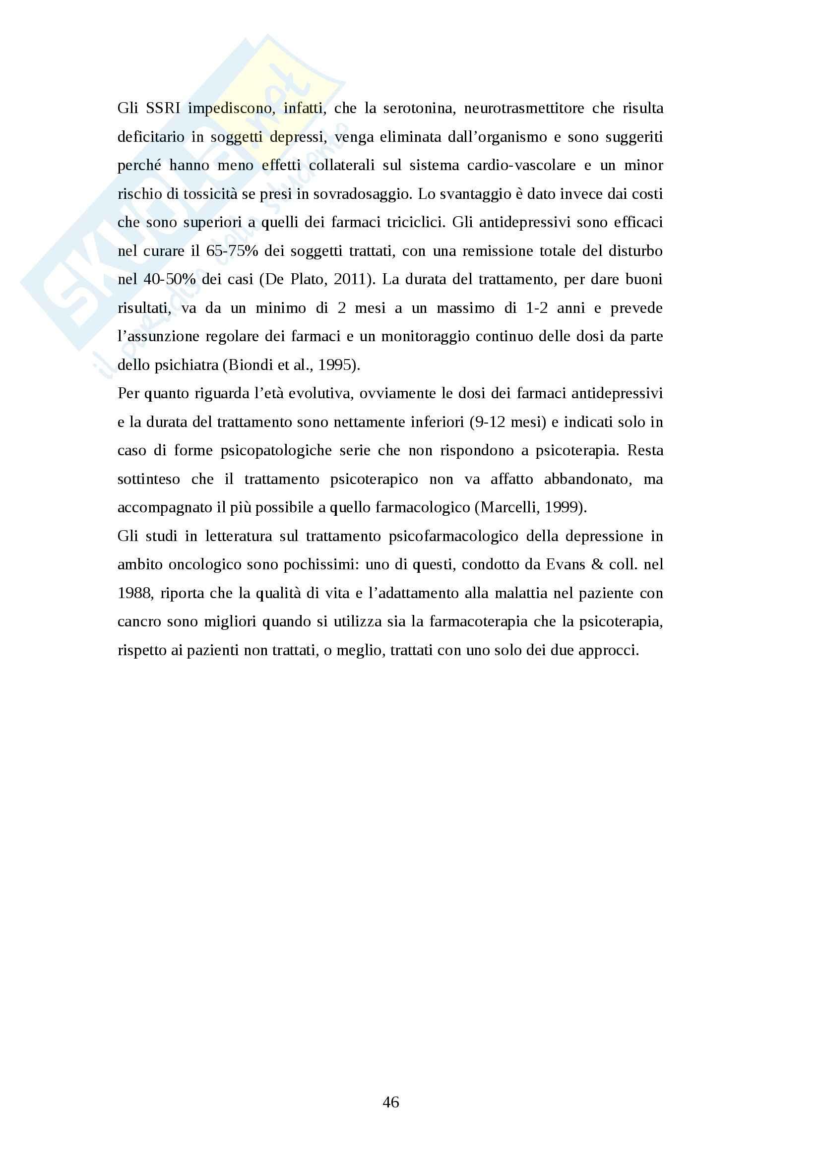 Tesi magistrale - Il vissuto depressivo nella famiglia del paziente oncologico pediatrico affetto da patologia cronica Pag. 46